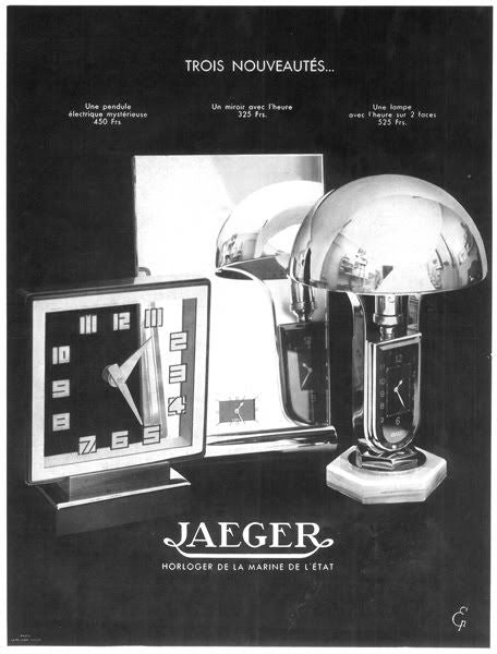 A Jeager-LeCoultre Ad of Their Lamp and Clock combination in Our Favourite Horological Objects for A Collected Man London