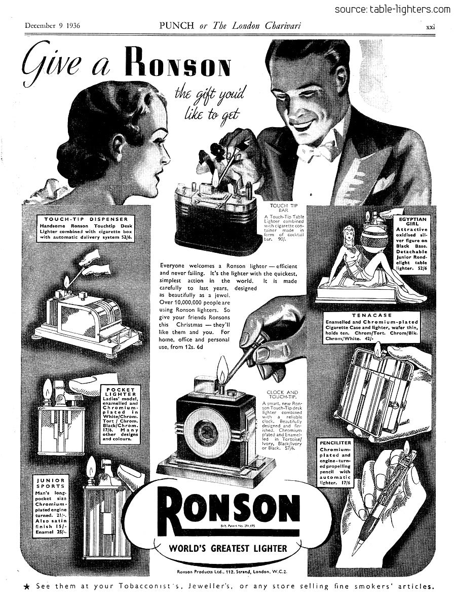 Vintage Ronson light watch advert our favourite horological items for A Collected Man London