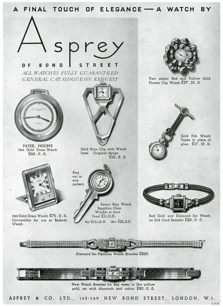 Original Asprey Ad of their key in Our Favourite Horological Objects for A Collected Man London