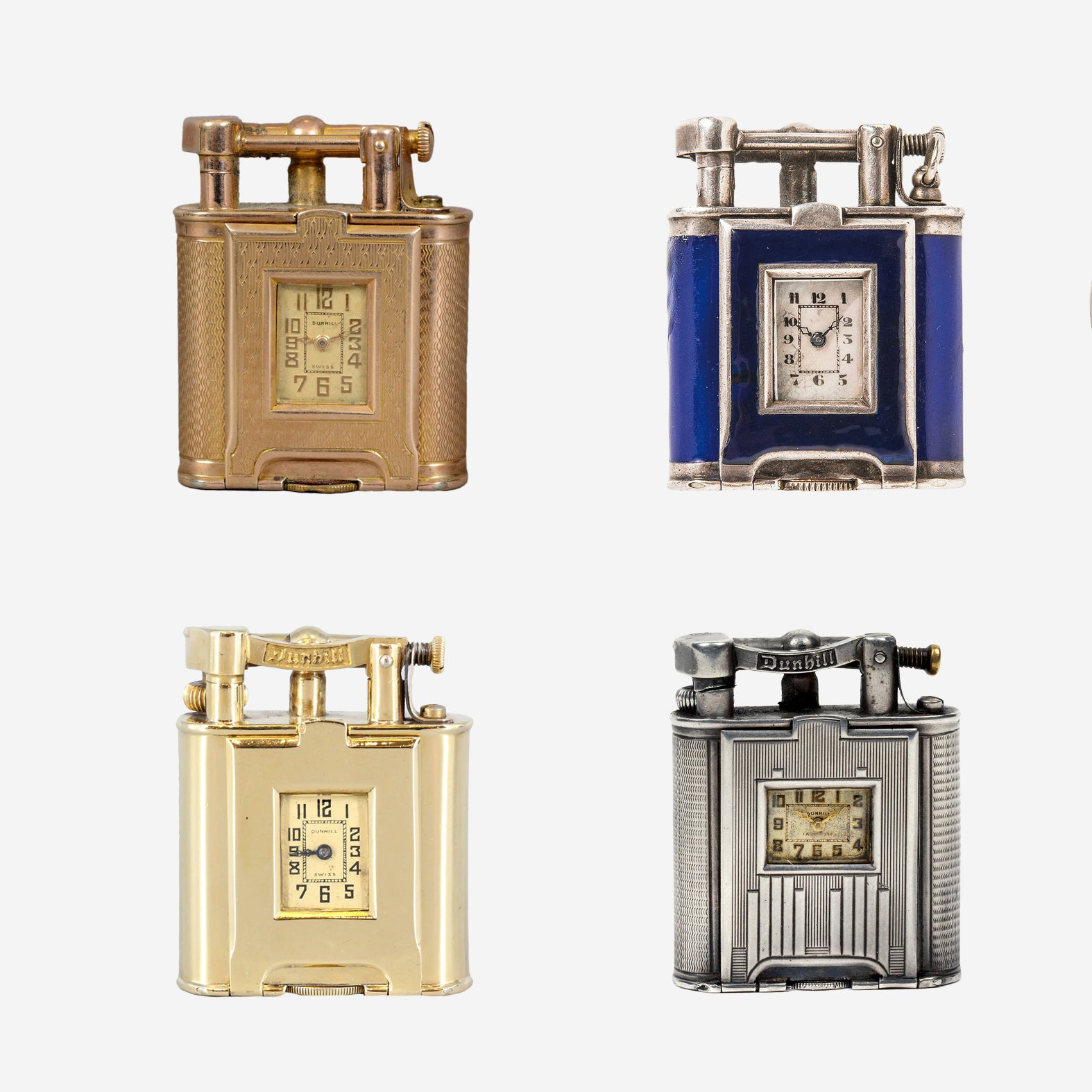 Selection of four Dunhill lighters in Our Favourite Horological Objects for A Collected Man London