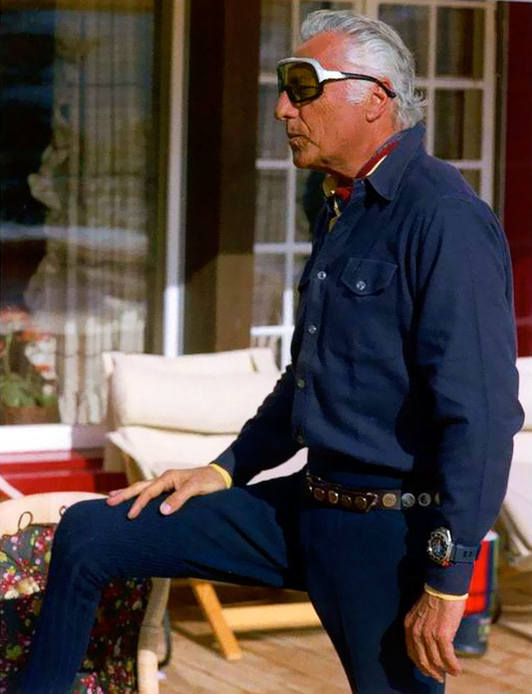 Gianni Agnelli the old boss of Fiat wearing an Omega Ploprof on his shirt cuff for A Collected Man London