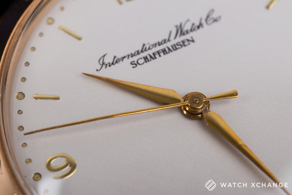 IWC Schaffhasuen 18-carat rose gold manual-winding Cal. 89 vintage authentic pre-owned dress luxury watch from circa 1954 with silver dial and brown crocodile strap with hours, minutes, center seconds