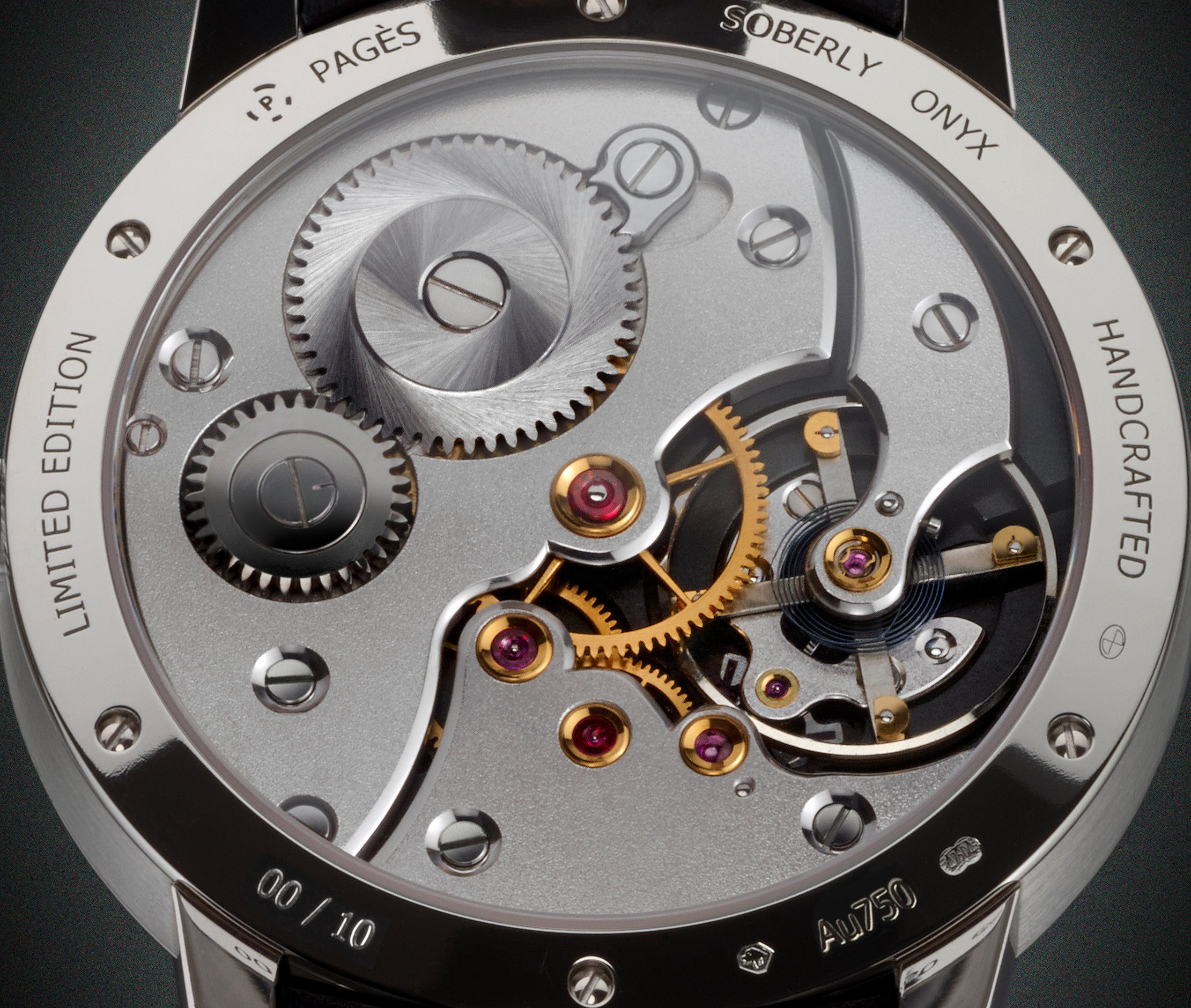 The movement of Raul Pages Soberly Onyx wristwatch for A Collected Man London