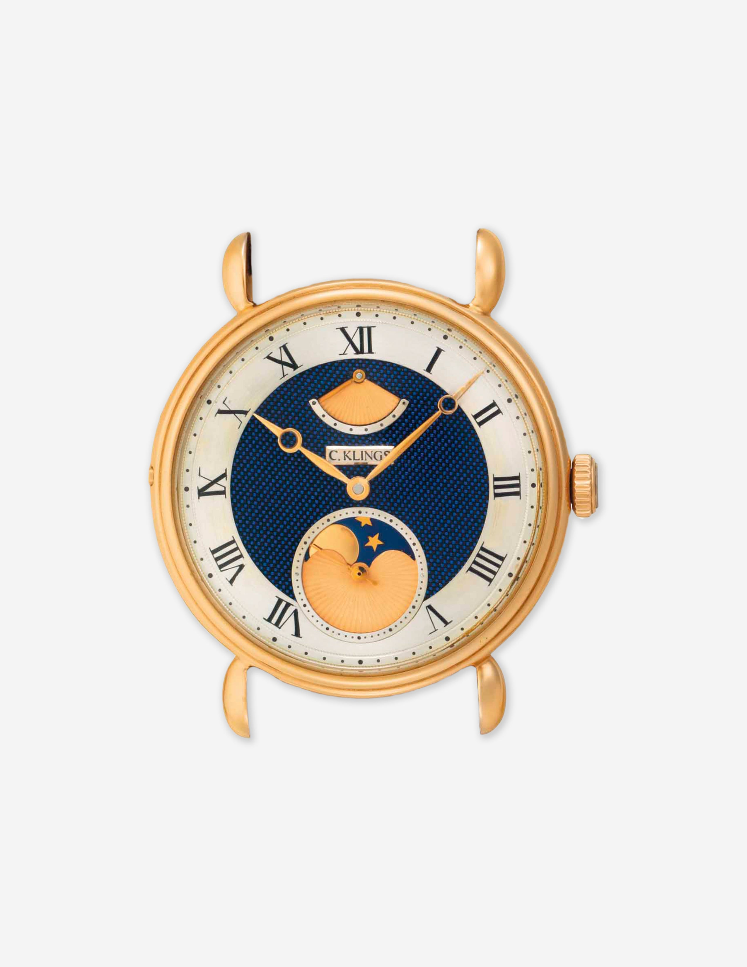A Christian Klings unique commission yellow gold wristwatch with moon phase and power reserve for A Collected Man London