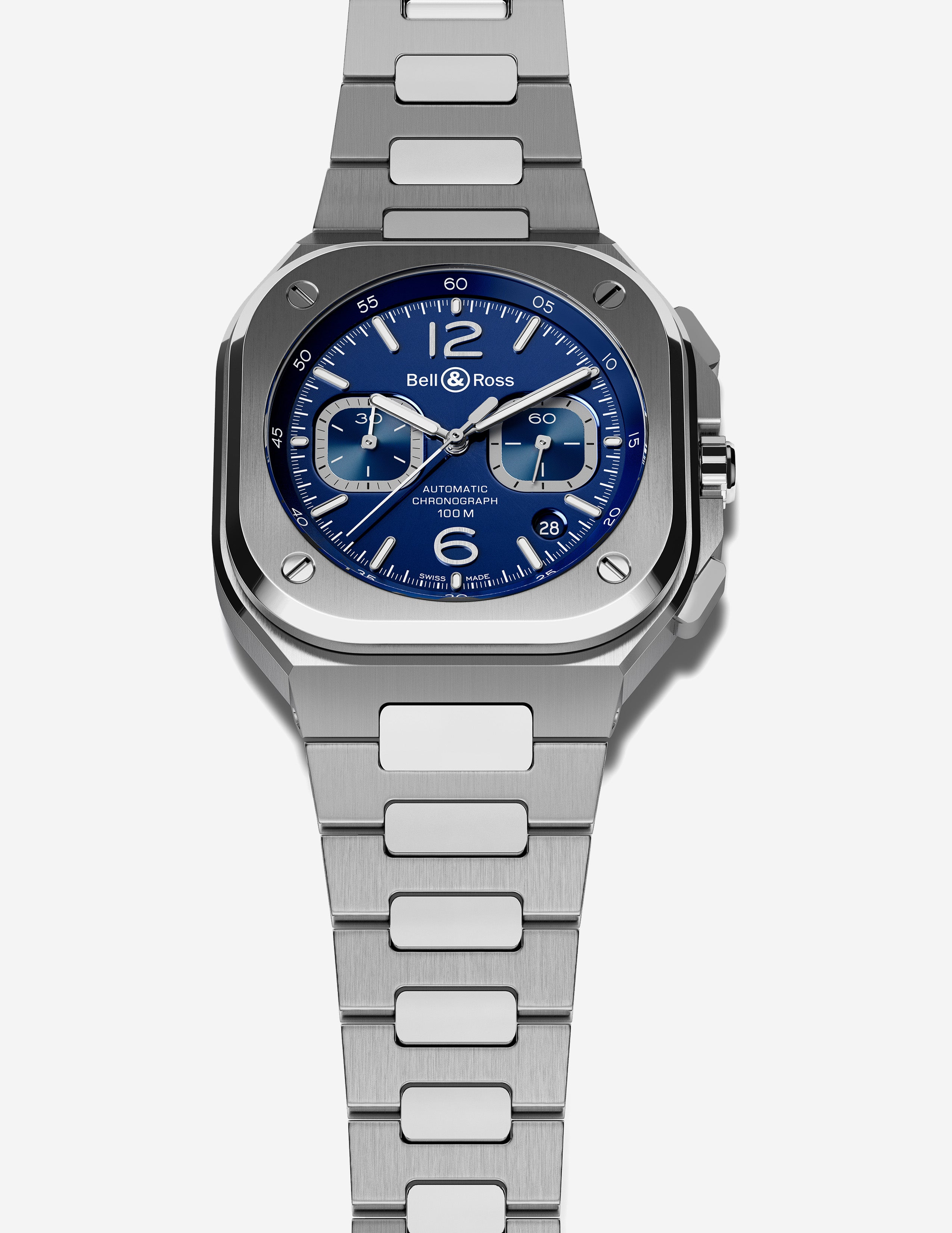 Bell & Ross BR 05 chronograph stainless steel integrated bracelet sports watch with a blue dial for A Collected Man London