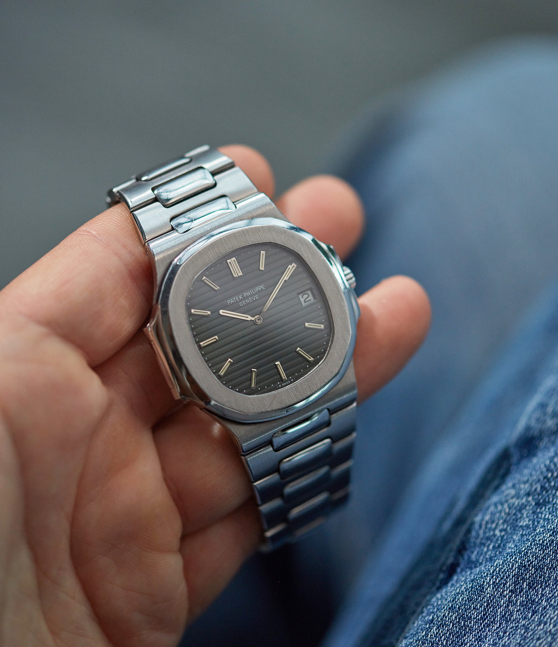 Patek Philippe Nautilus 3700 in stainless steel with a blue dial from the 1970s for A Collected Man London