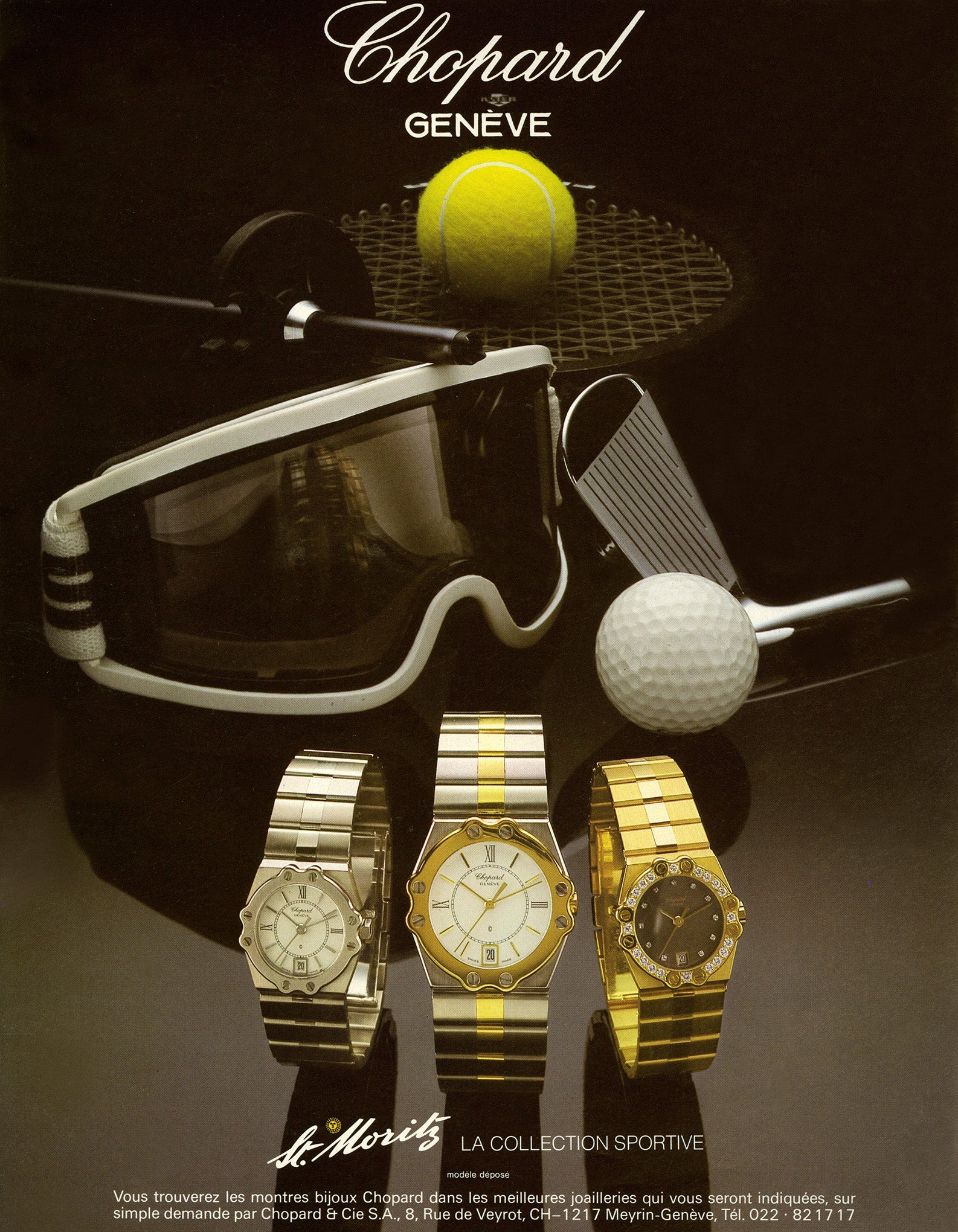 Chopard St Moritz sports watch from the 1980s print advertisement shoeing three models for A Collected Man London