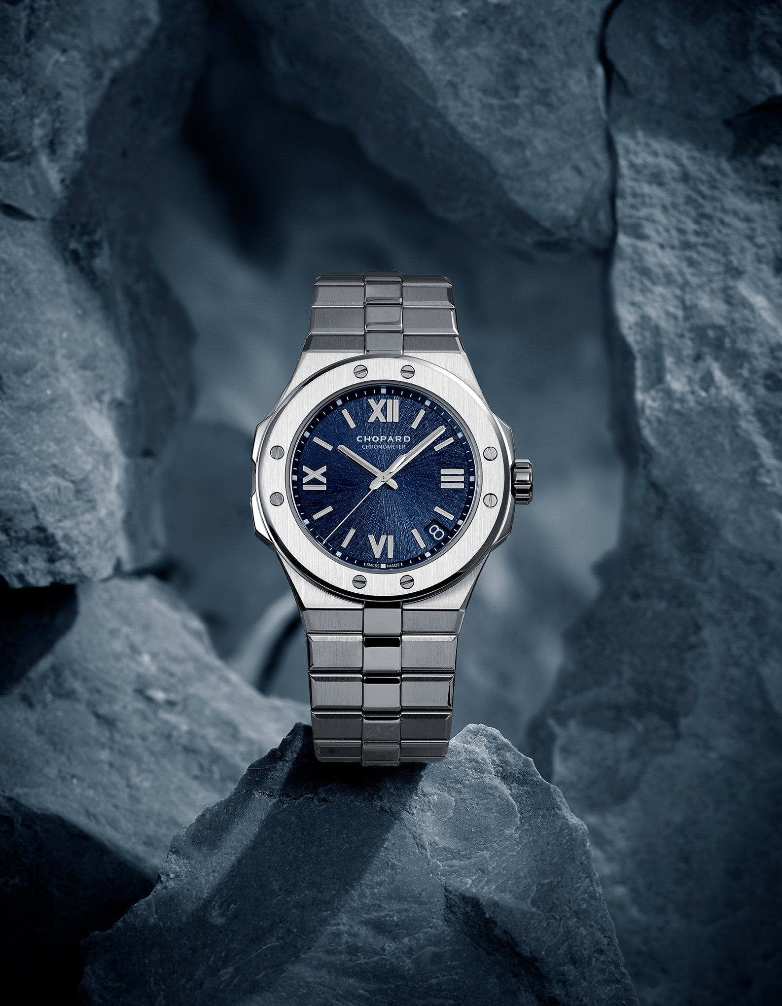 Chopard Alpine Eagle stainless steel integrated bracelet sports watch with a blue dial for A Collected Man London