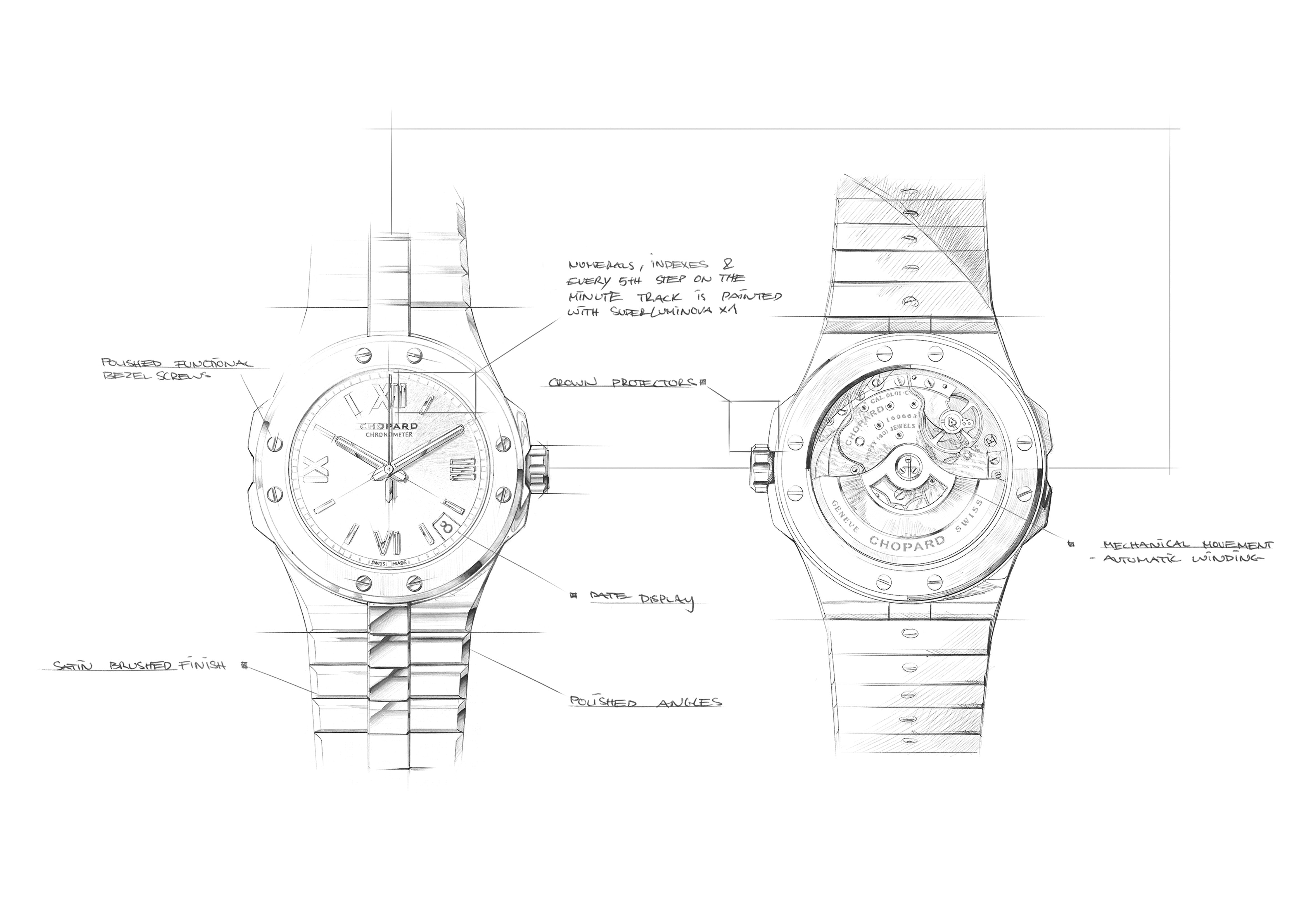 Chopard Alpine Eagle design sketch showing integrated bracelet design and contraction for A Collected Man London