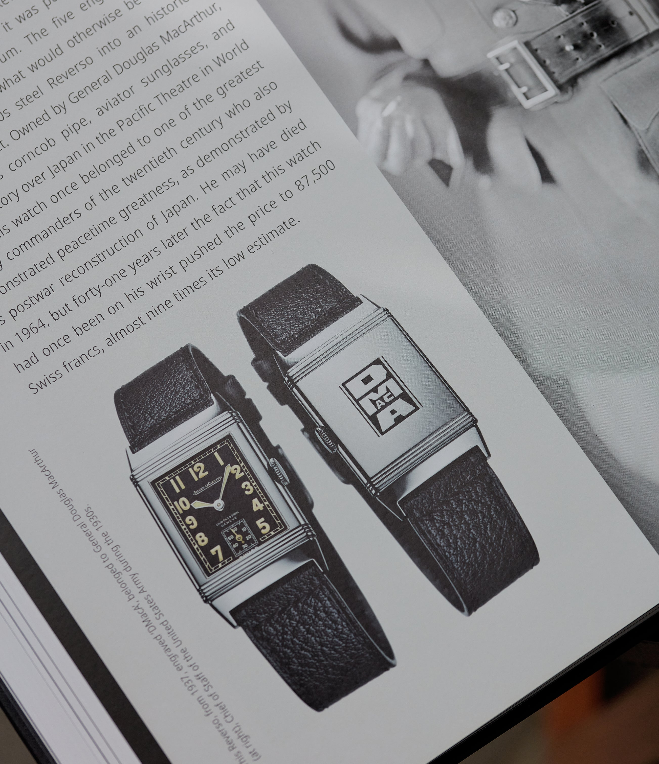Caseback engravings and lacquer-work for General Douglas McArthur to commemorate historic flight by Amelia Earhart  in The Flippin' History of the Reverso for A Collected Man