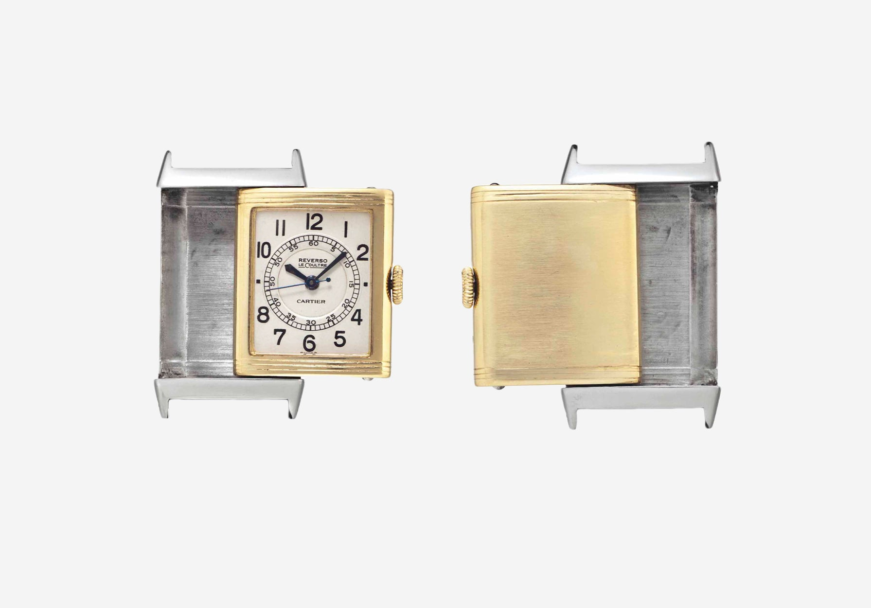 A Jaeger-LeCoultre Reverso two-tone yellow gold and steel double signed by Cartier for A Collected Man London
