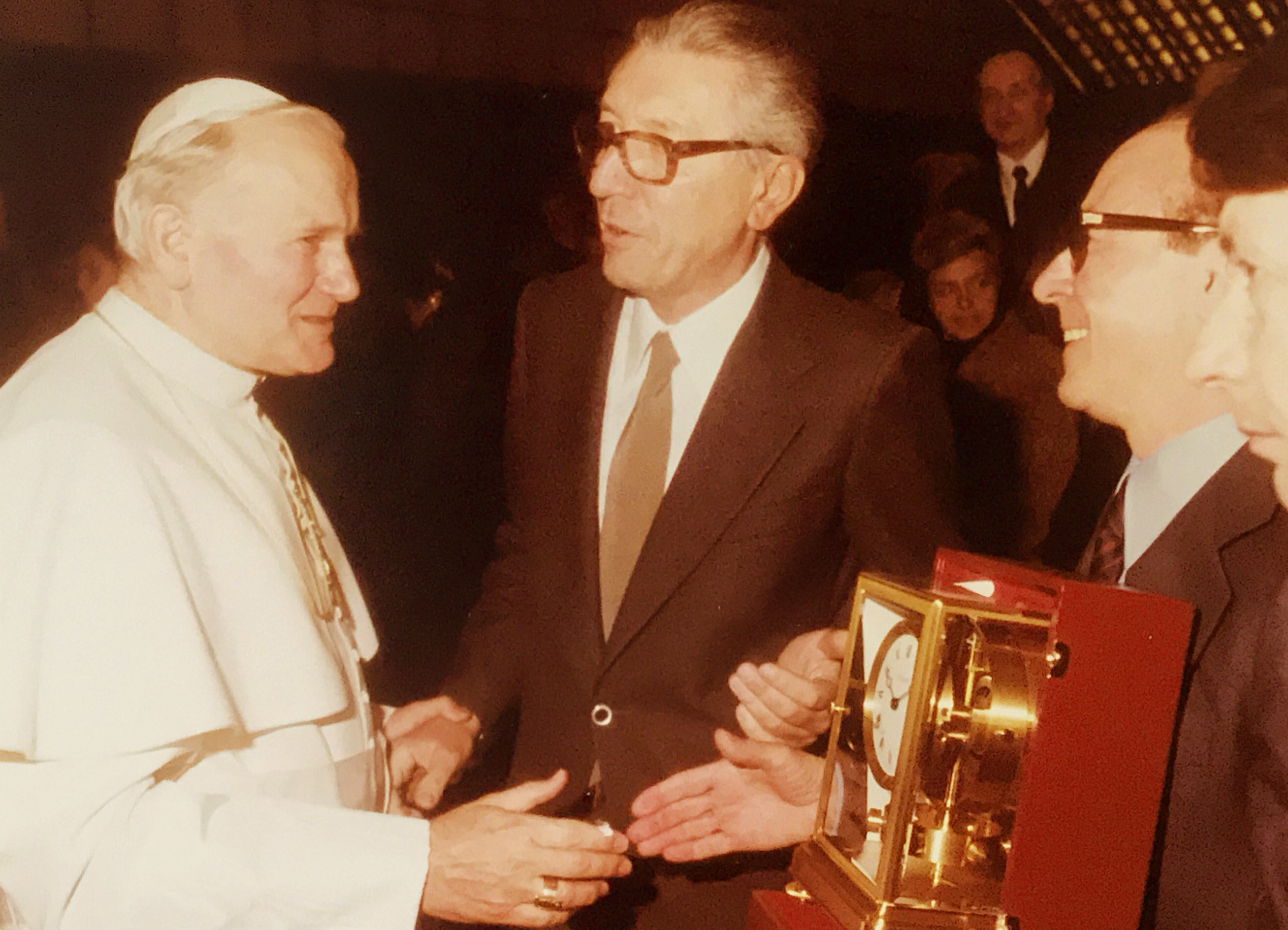 Giorgio Corvo presenting Pope Giovanni Paolo II with a Jaeger-LeCoultre Atmos clock for A Collected Man London