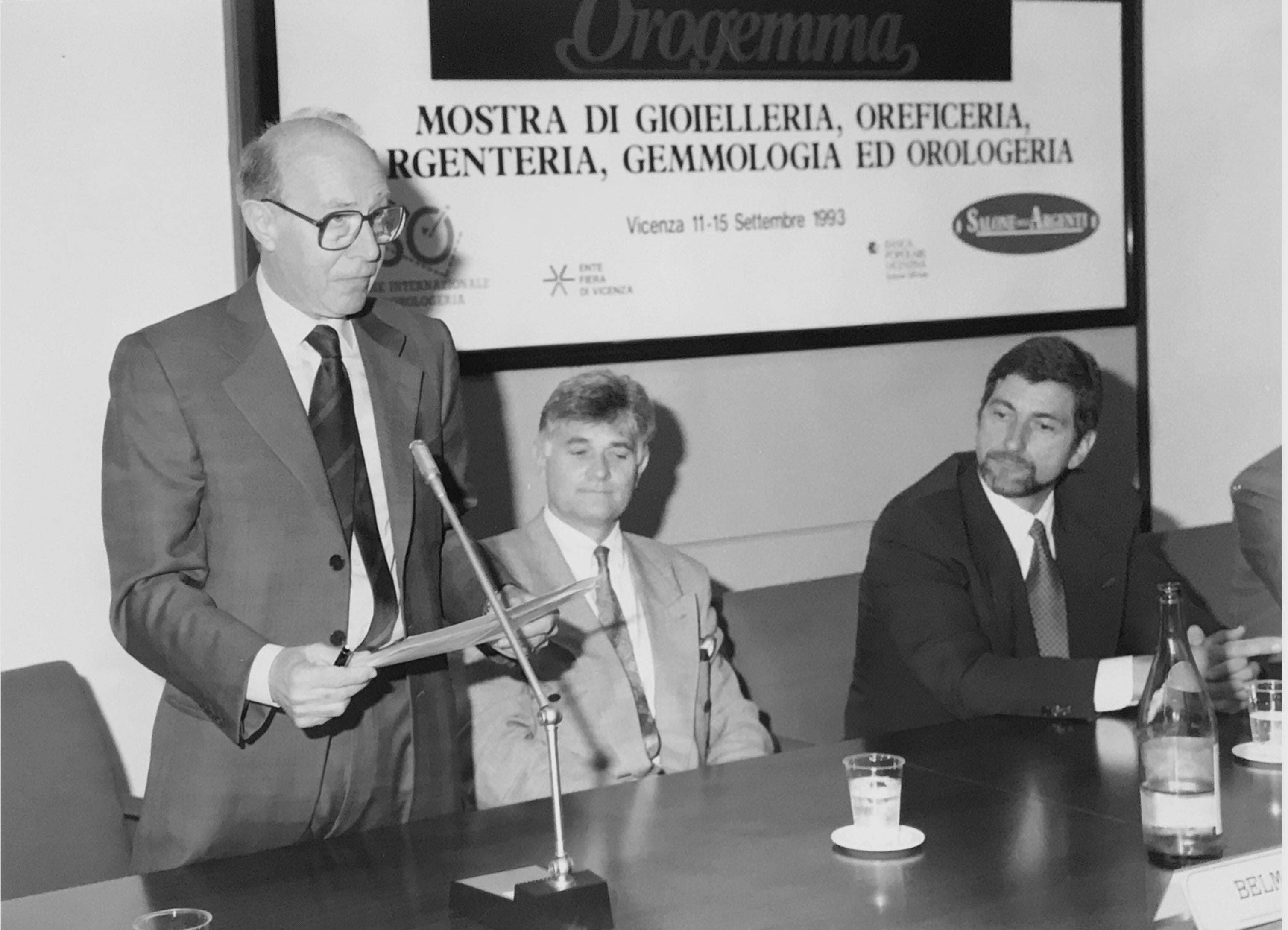 Giorgio Corvo with Henry-John Belmont CEO of Jaeger-LeCoultre and Gunter Blumlein in 1993 for A Collected Man London