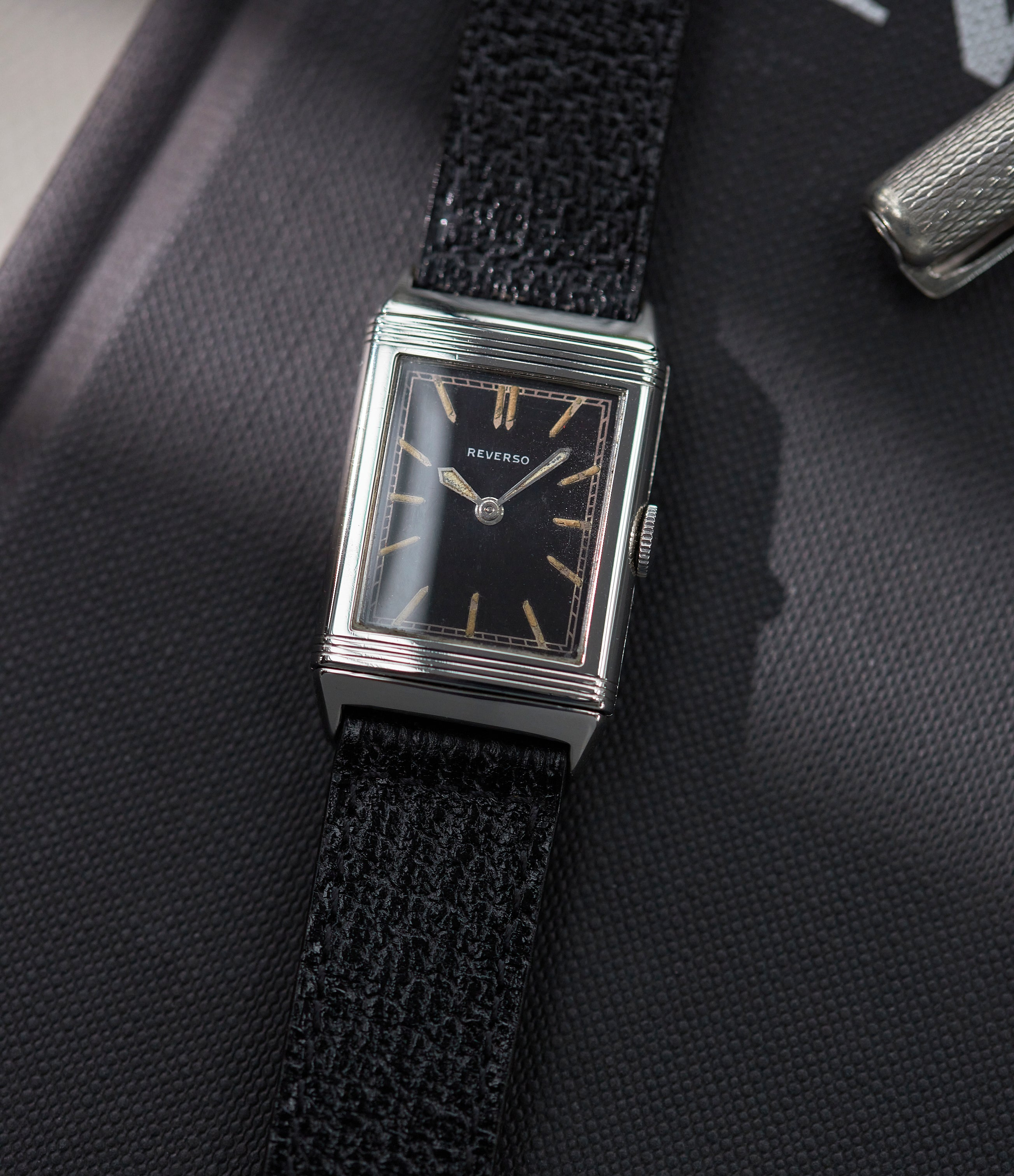 Jaeger-LeCoultre Reverso from 1931 black dial Tavannes movement in The Flippin' History of the Reverso for A Collected Man