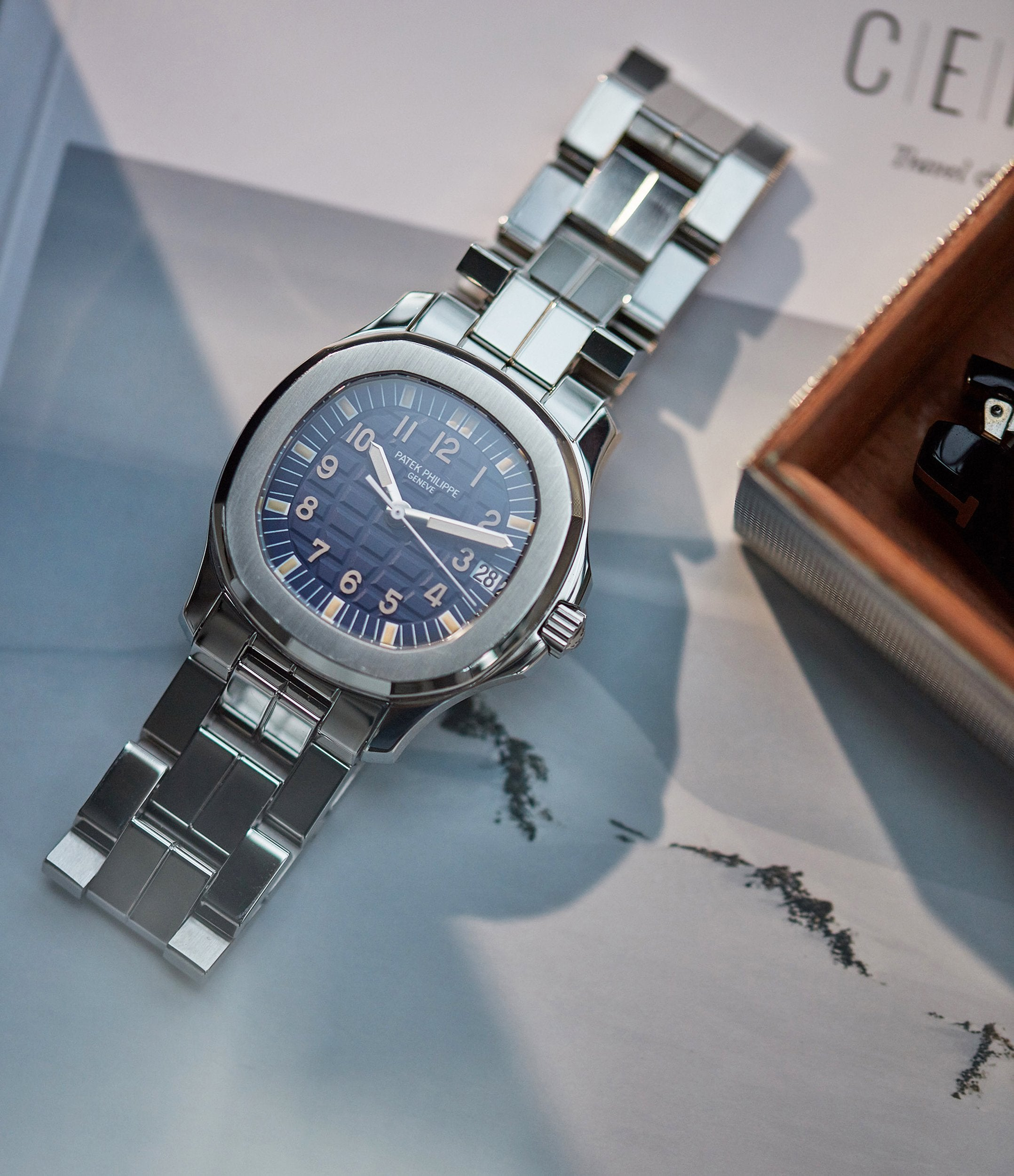 Patek Philippe Aquanaut blue dial designed for the Japanese market for A Collected Man Lonodn