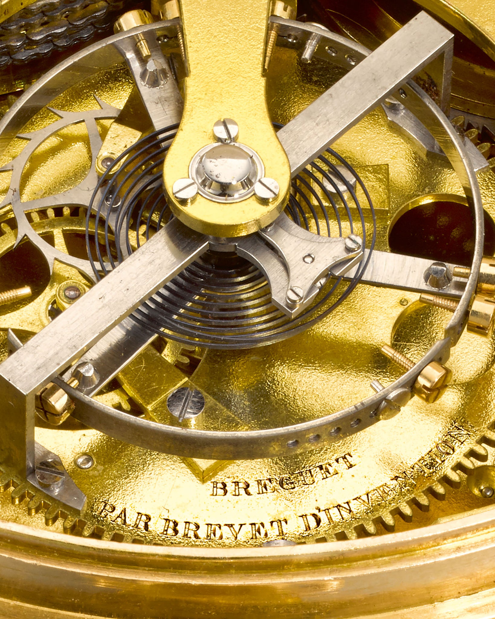 Macro shot of the tourbillon cage and platform of the King Geogre III's watch made by Breguet