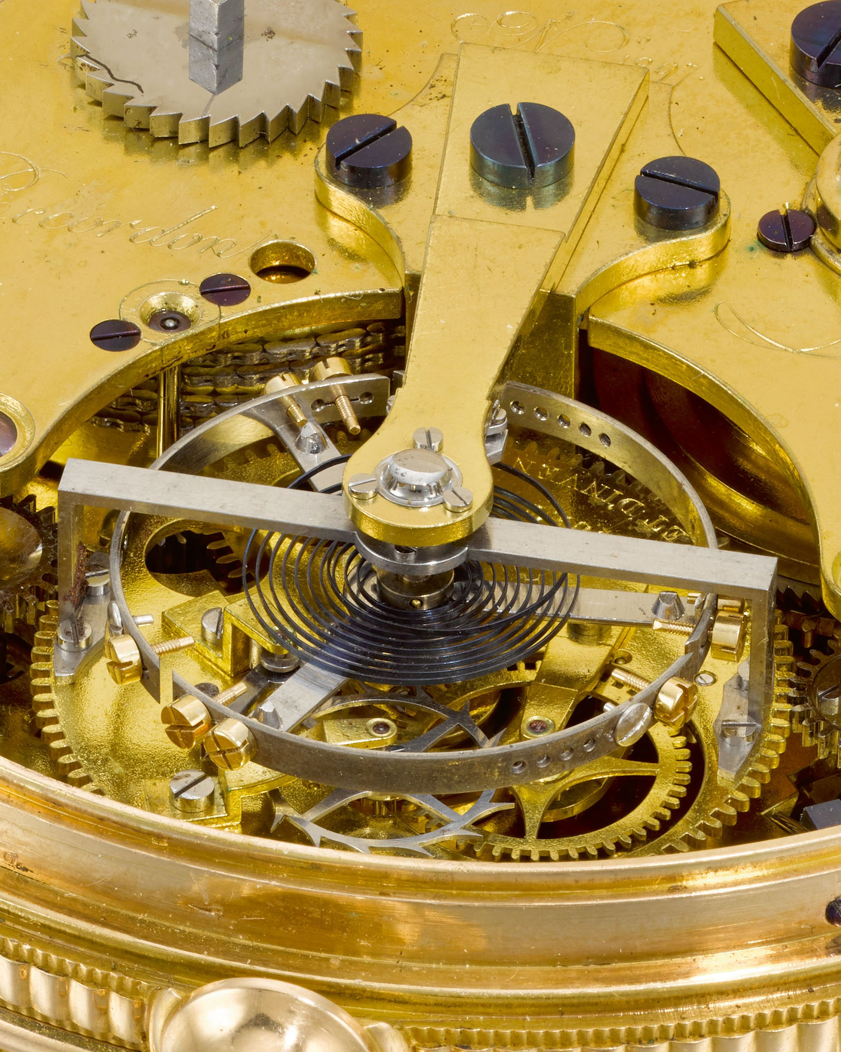 Macro shot of the tourbillon cage of King George III's watch made by Breguet