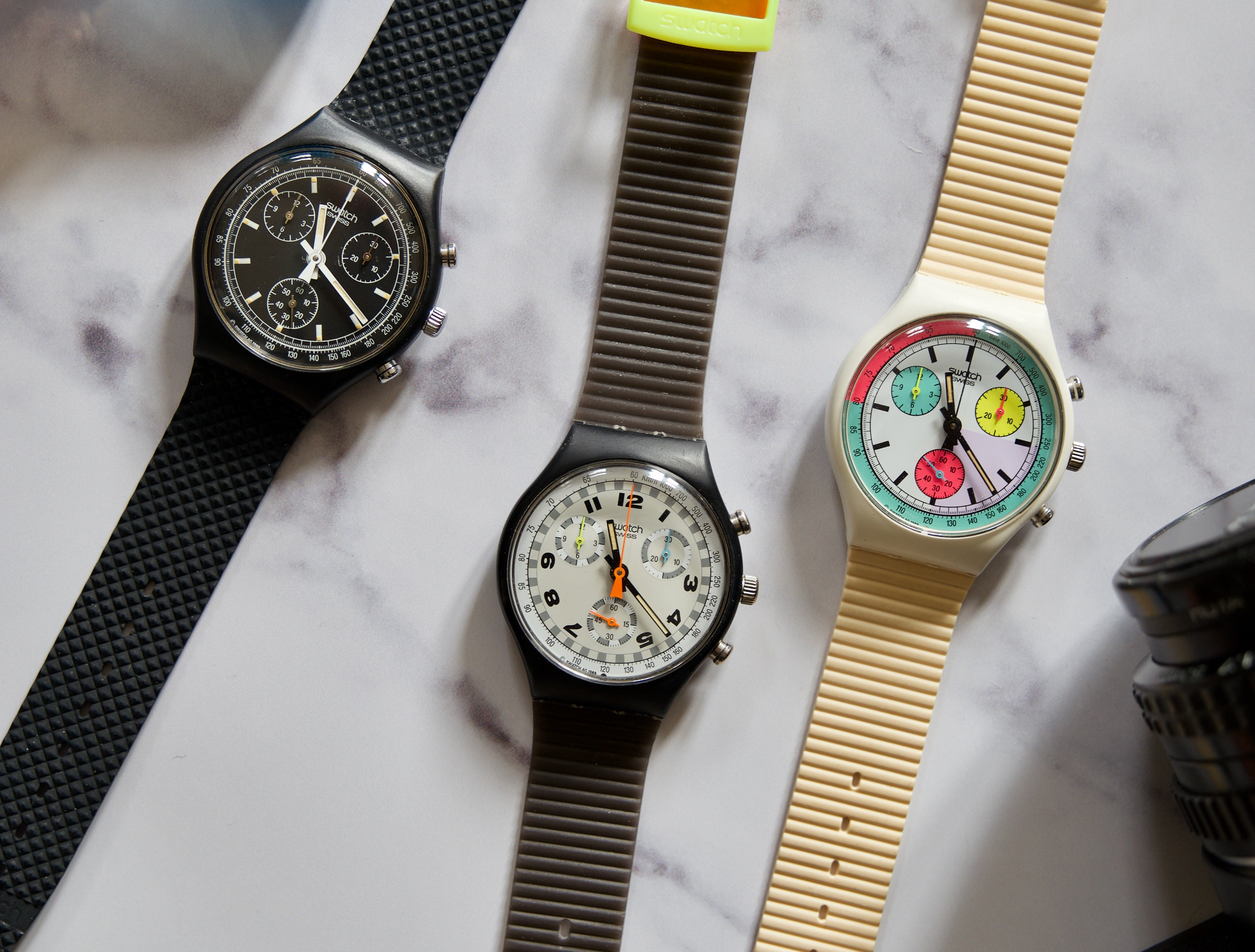 Swatch chronographs shot by Justin Hast for A Collected Man London
