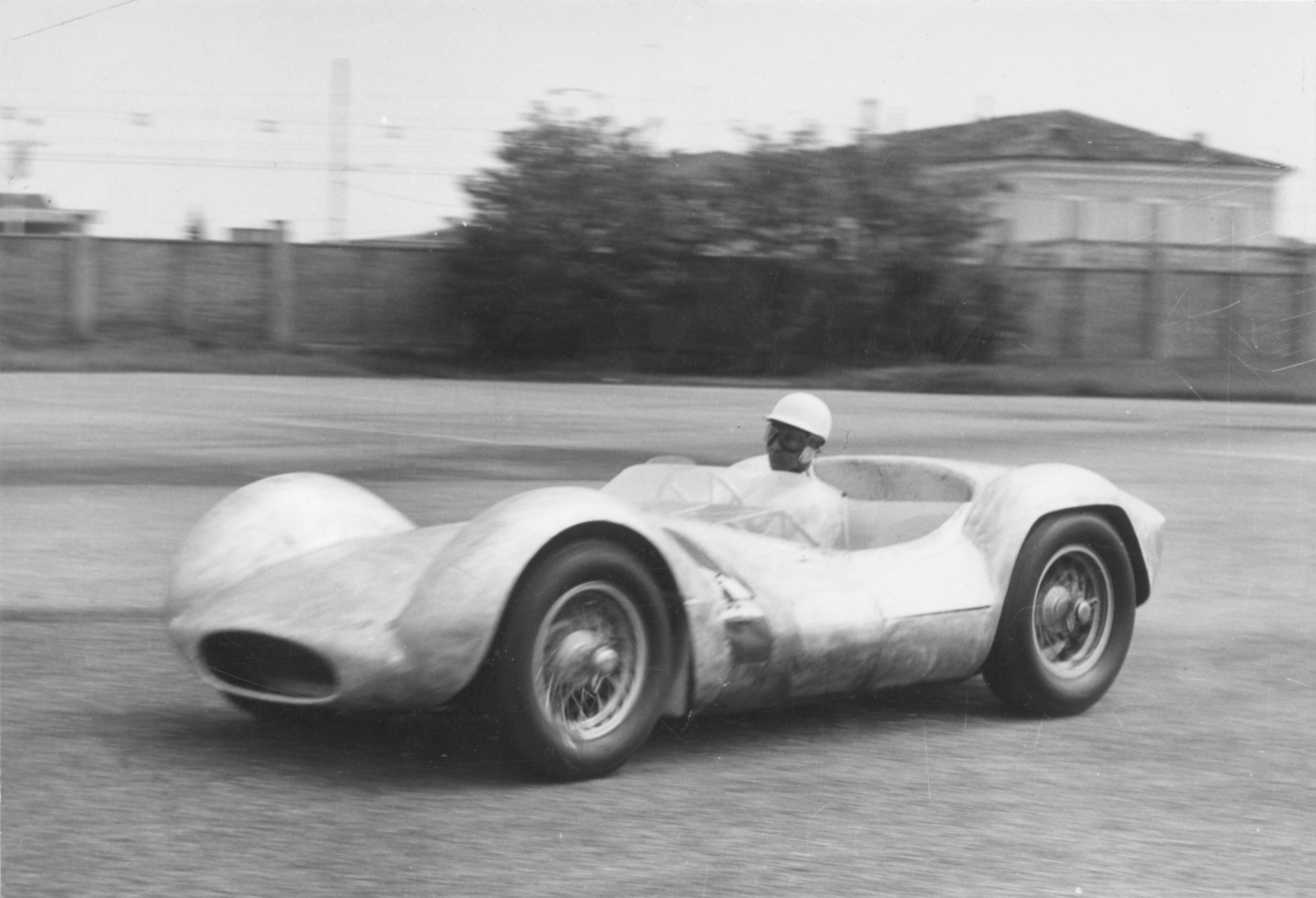 Maserati Birdcage concept car being test driven by Sir Stirling Moss in Modena for A Collected Man London