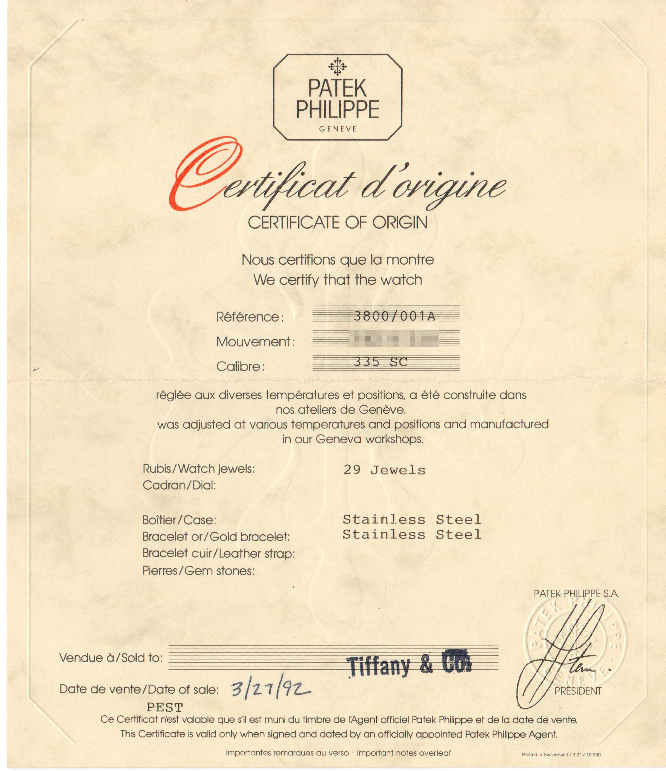 Patek Philippe certificate of origin from Tiffany for a 3800 for A Collected Man London