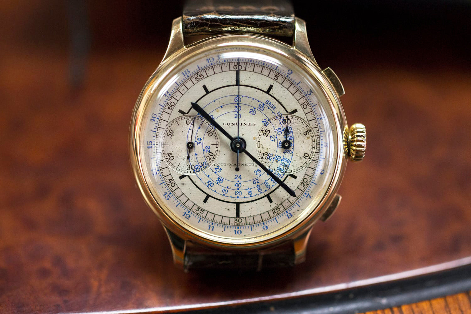 Longines vintage chronograph in yellow gold being sold at Private Eyes for A Collected Man London
