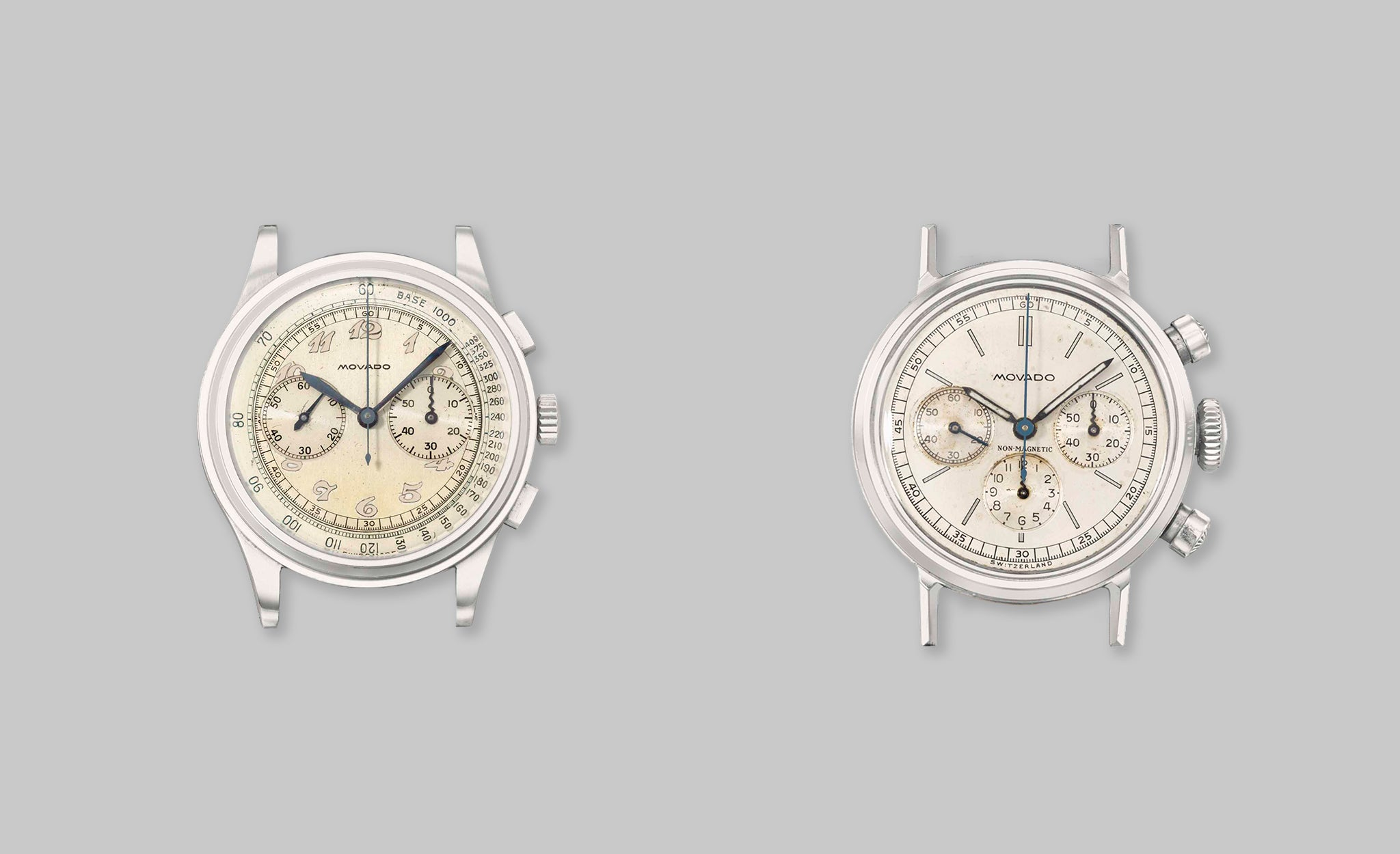 Two Movado steel chronographs from the 1950s midcentury design favoured by Japanese collectors for A Collected Man London