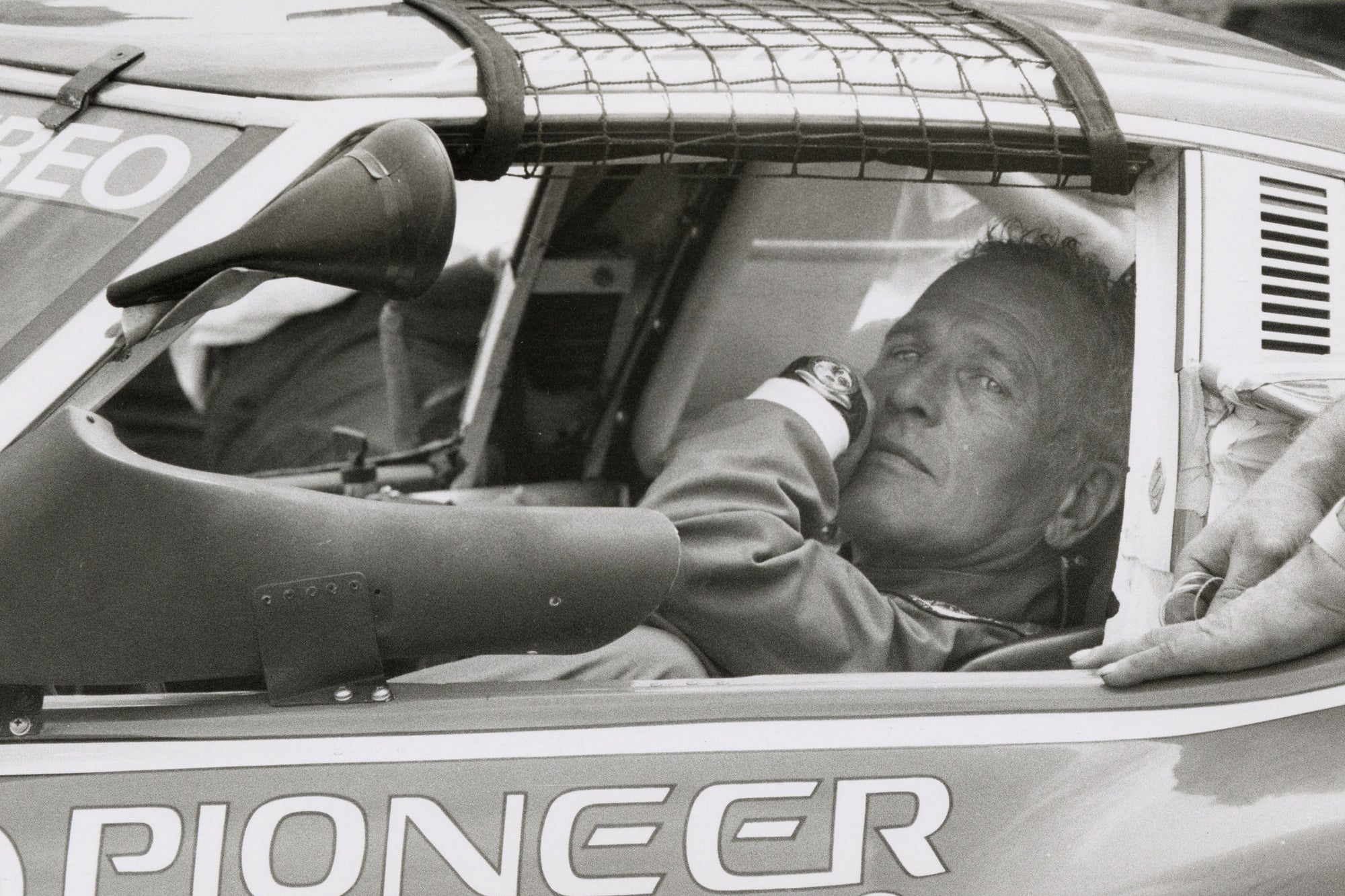 Paul Newman Daytona on the owner's wrist during a race
