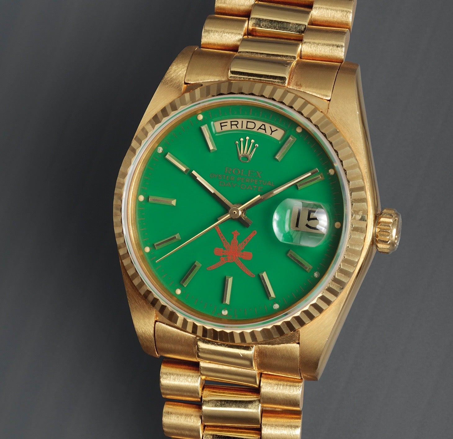 Rolex Stella dial day-date with green lacquer and khanjar signed by Asprey for A Collected Man London