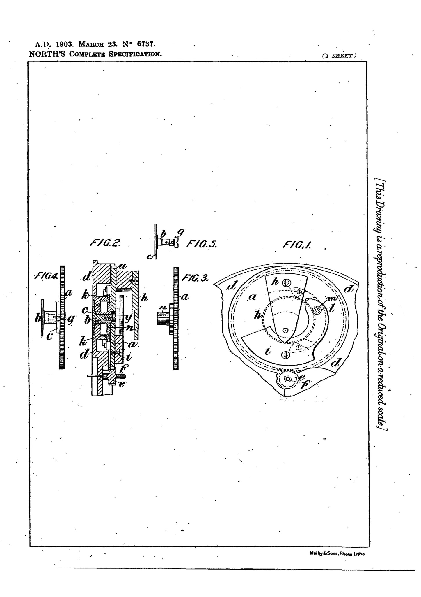 A patent filed by Robert Benson North for his early version of a flying tourbillon