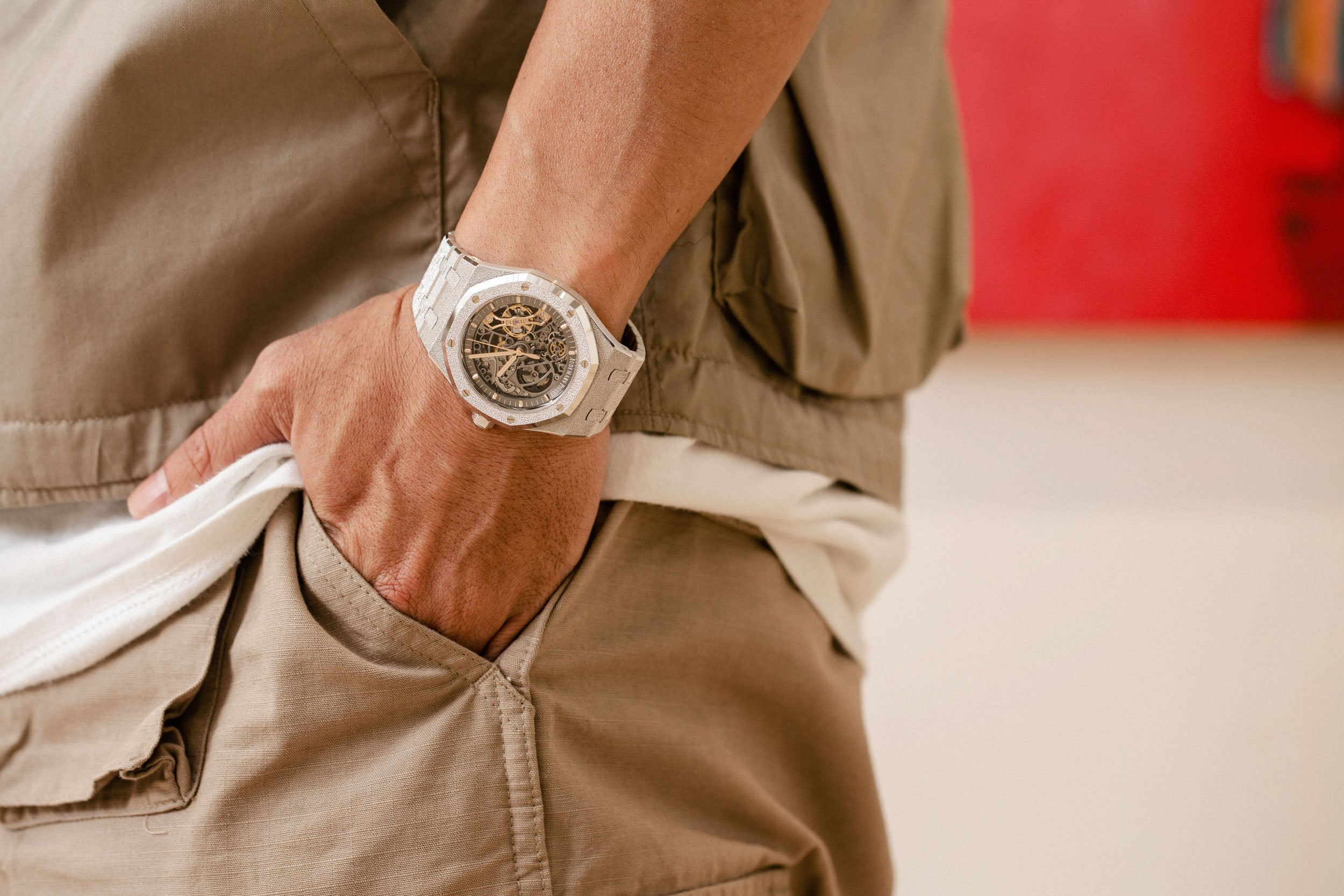 Audemars Piguet openwork on wrist in Obsessions: Contemporary Culture with Kevin Poon for A Collected Man London