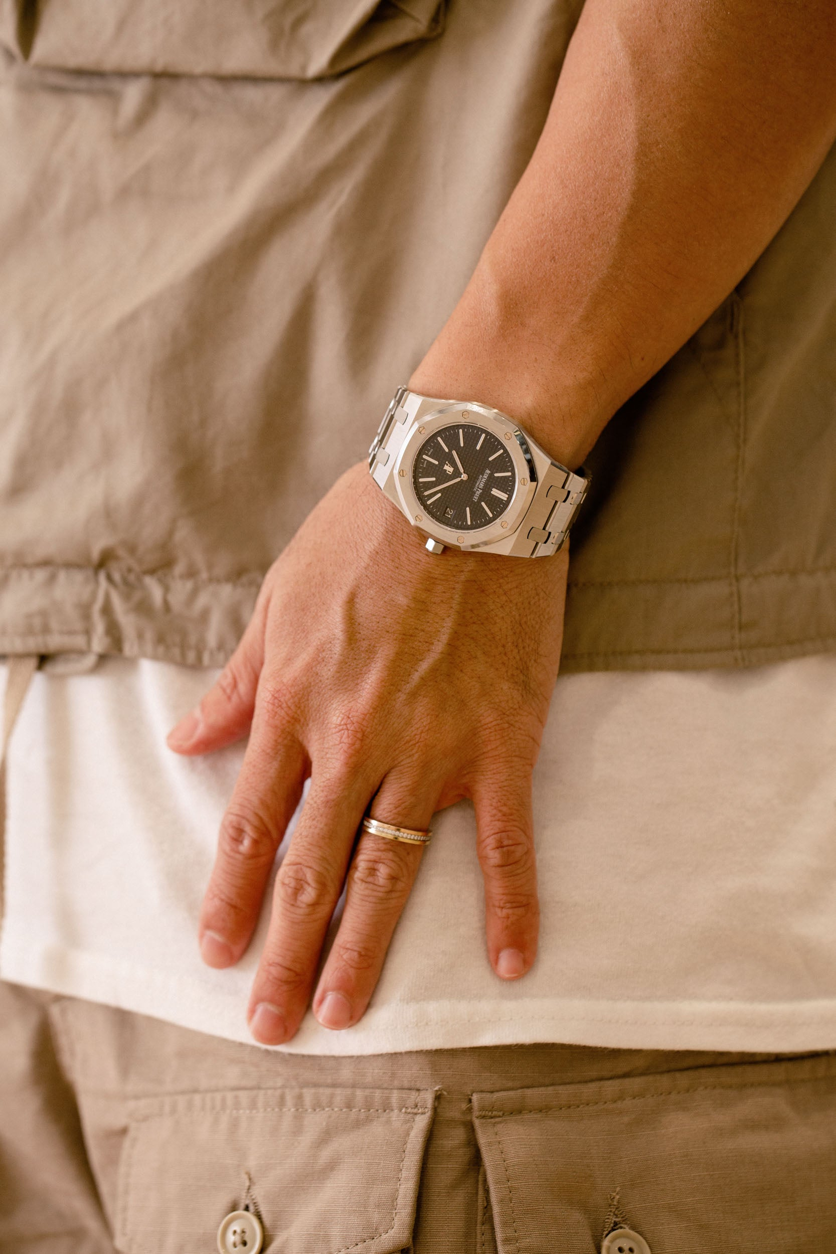 Audemars Piguet 15202 on wrist in Obsessions: Contemporary Culture with Kevin Poon for A Collected Man London