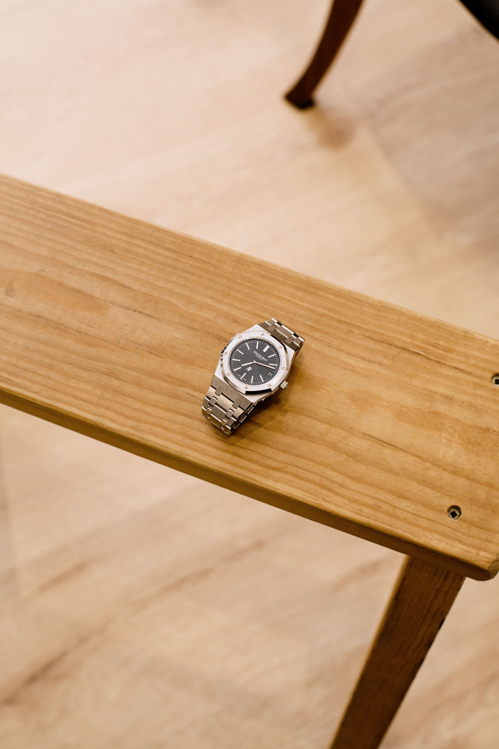 Audemars Piguet 15202 on table in Obsessions: Contemporary Culture with Kevin Poon for A Collected Man London