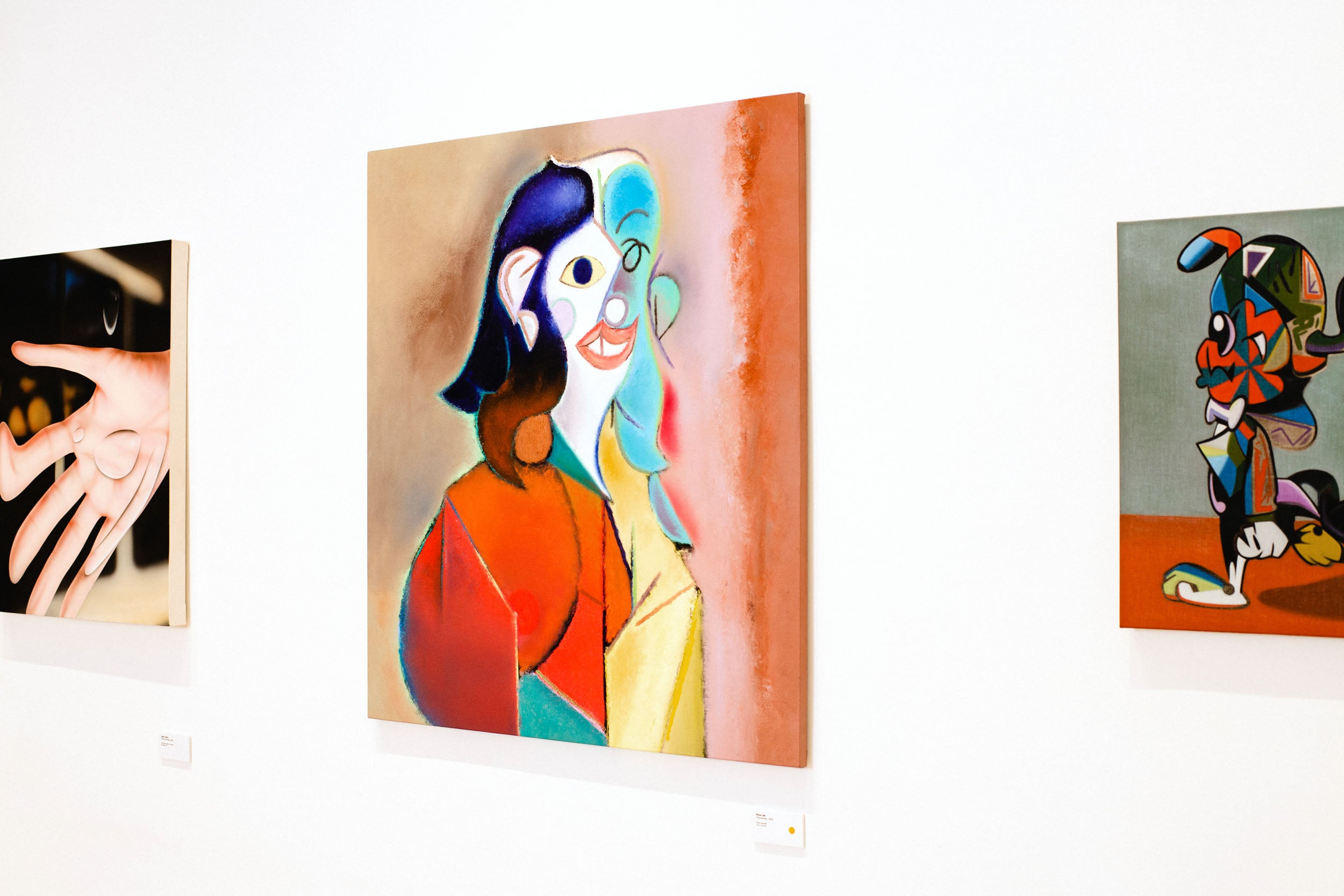 Landscape of painting of woman on wall in Obsessions: Contemporary Culture with Kevin Poon for A Collected Man London
