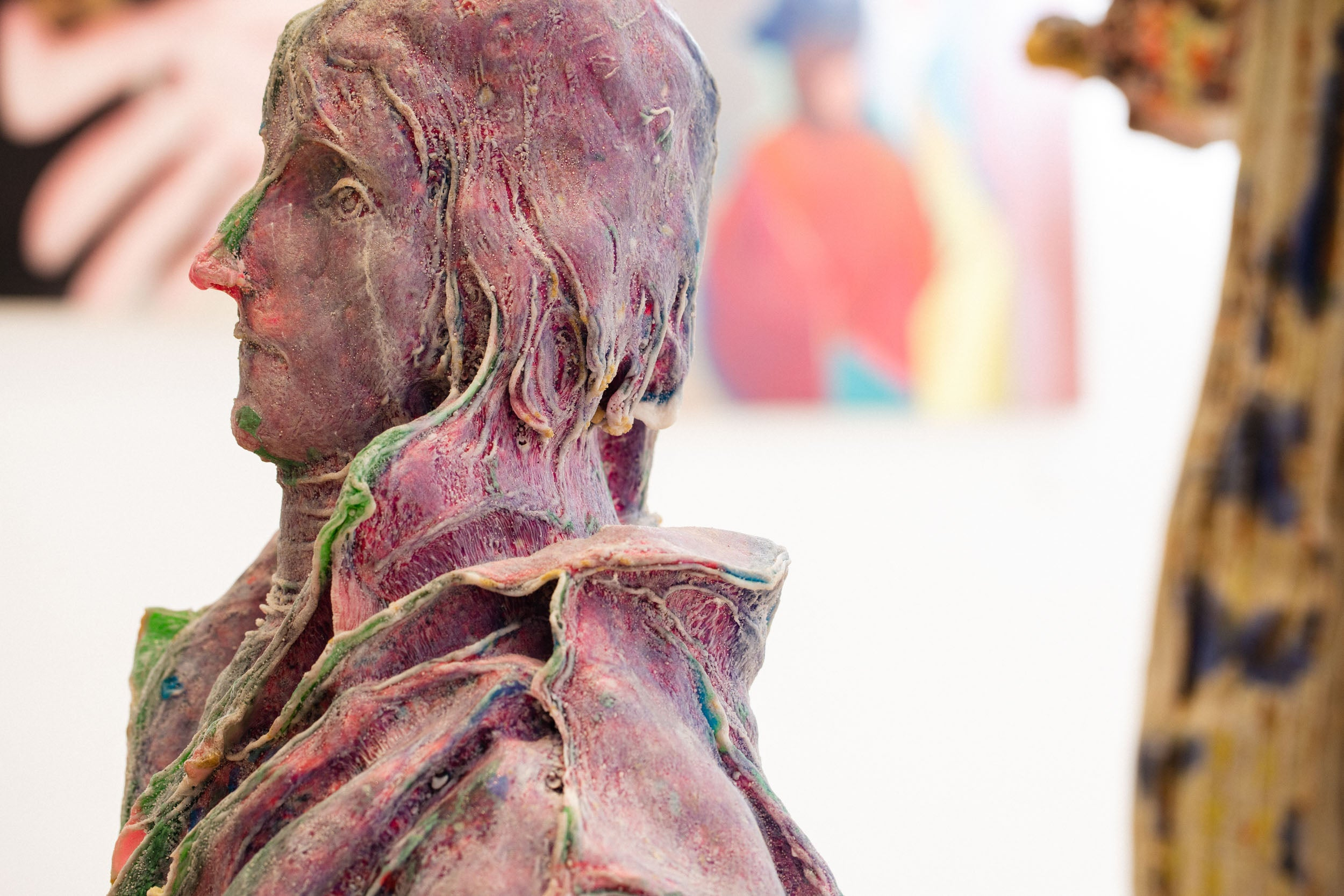 Purple statue in Obsessions: Contemporary Culture with Kevin Poon for A Collected Man London