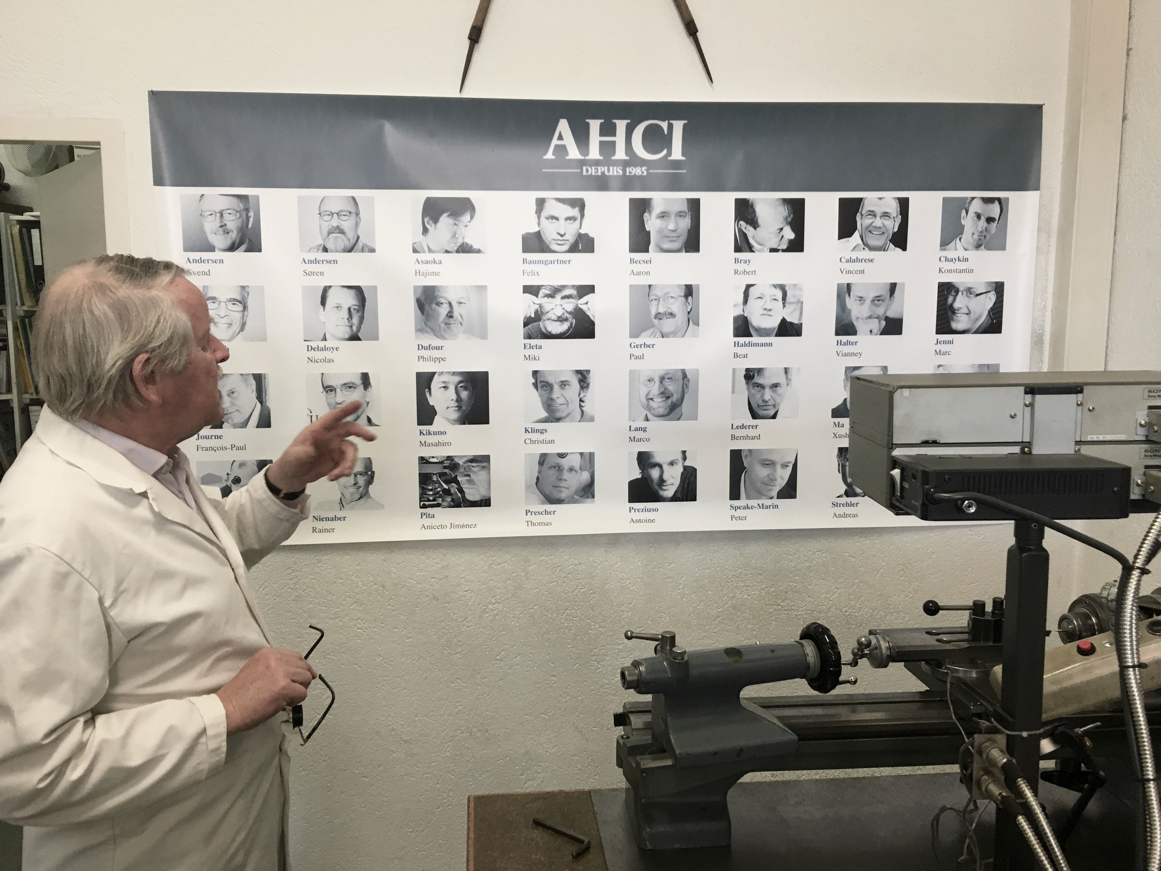 Svend Andersen's workshop and a post of all the AHCI members from The Watch Nerd for A Collected Man London