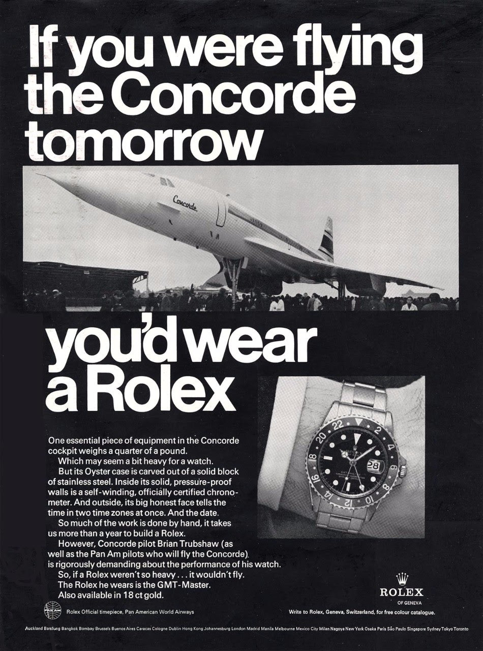 GMT Concorde advert in Transitional watches for A Collected Man London