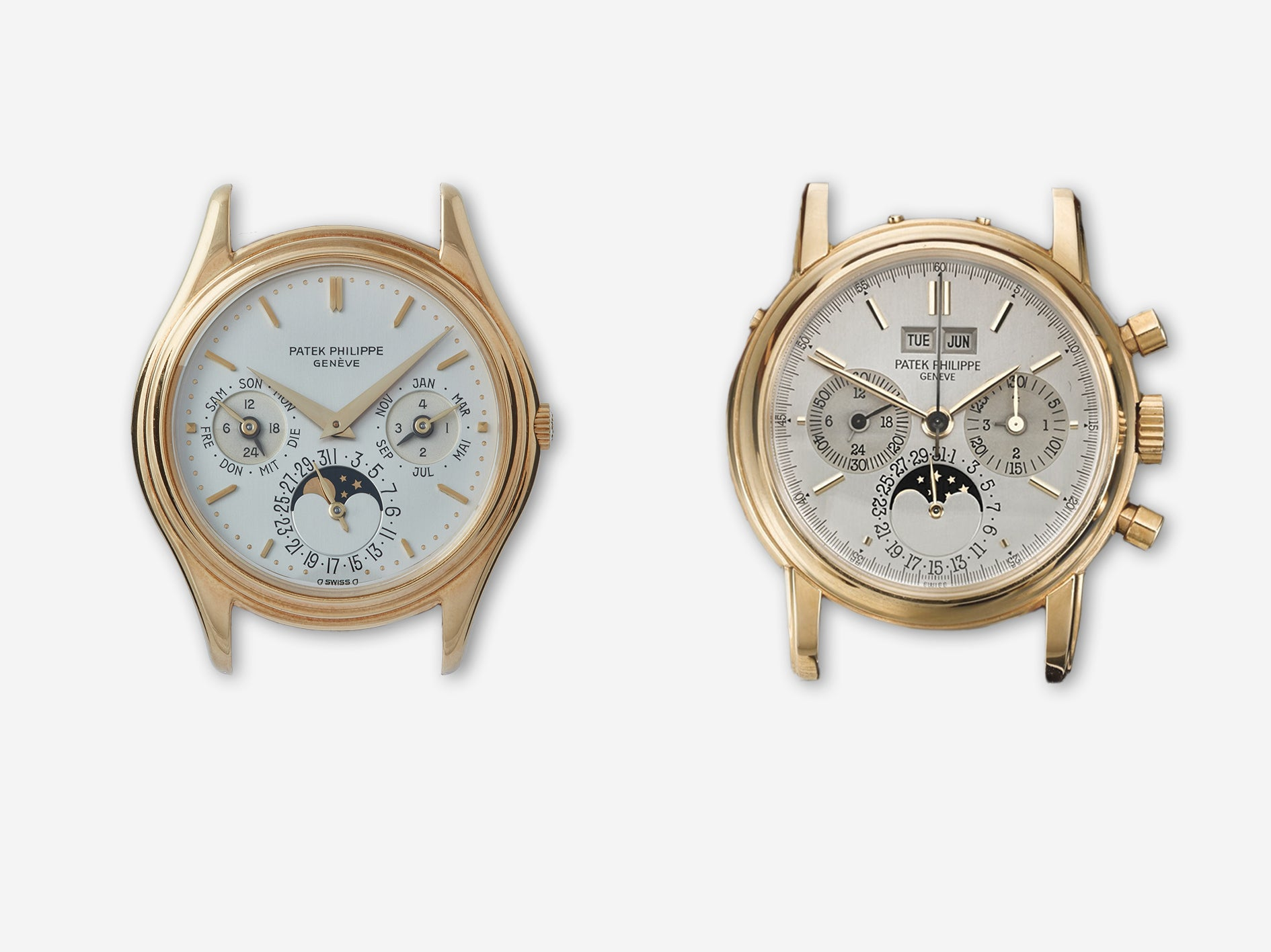 Patek Philippe perpetual calendars 3940 and 3970 on white background in Transitional watches for A Collected Man London