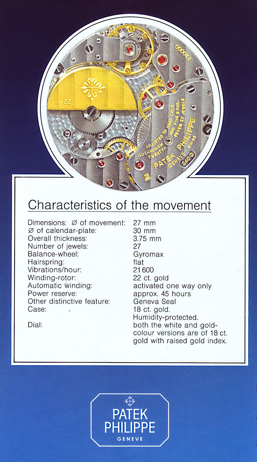 Back cover of a Patek Phillipe 3940 brochure