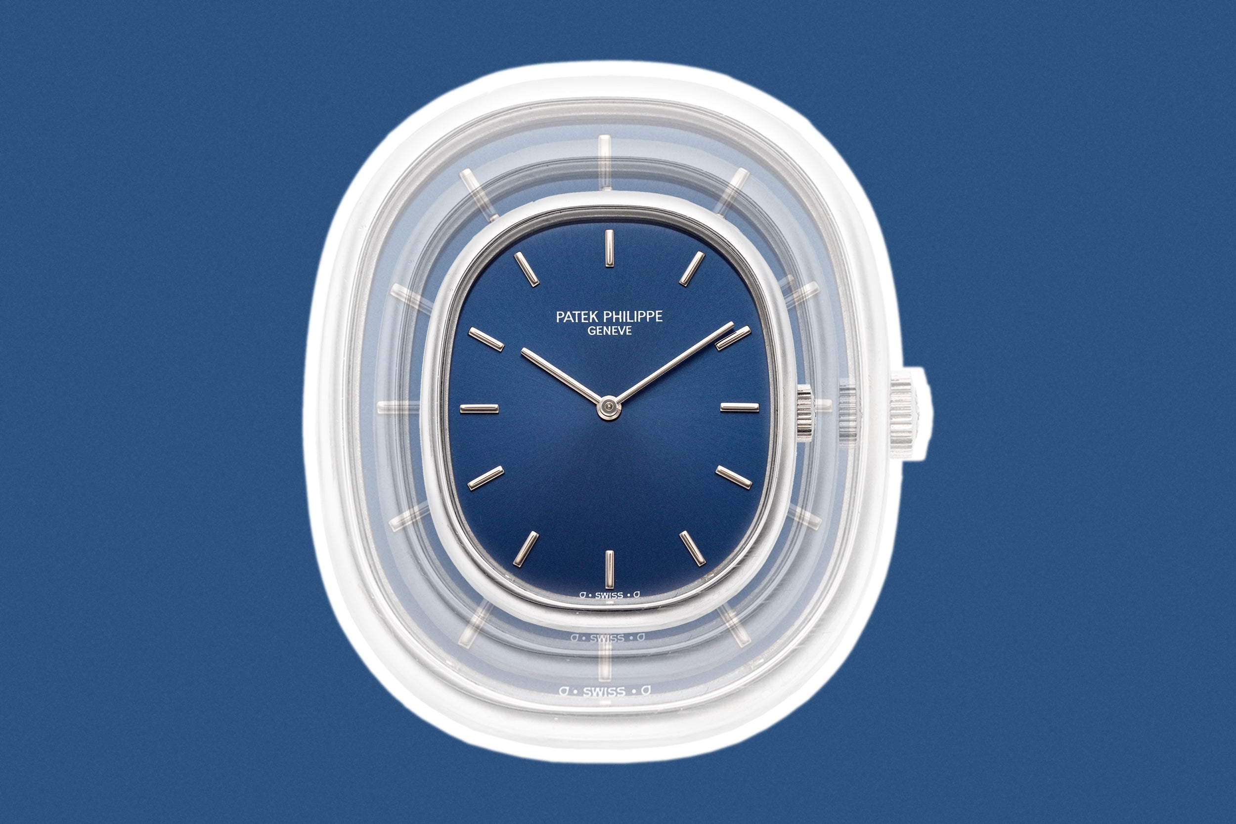 Patek Philippe Golden Ellipse wristwatch blue dial for A Collected Man London