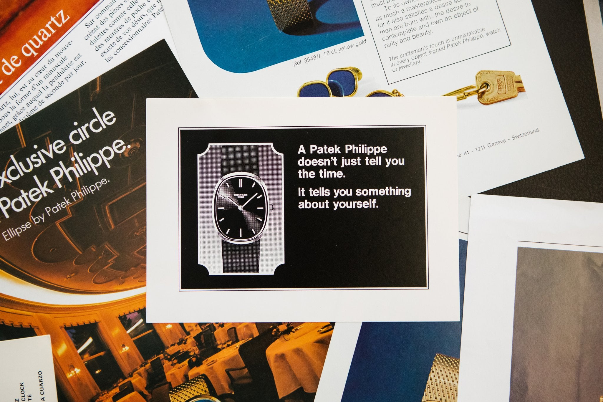 Patek Philippe Golden Ellipse advert pile  In Why the Patek Philippe Golden Ellipse Should Matter Just as Much as the Nautilus for A Collected Man London