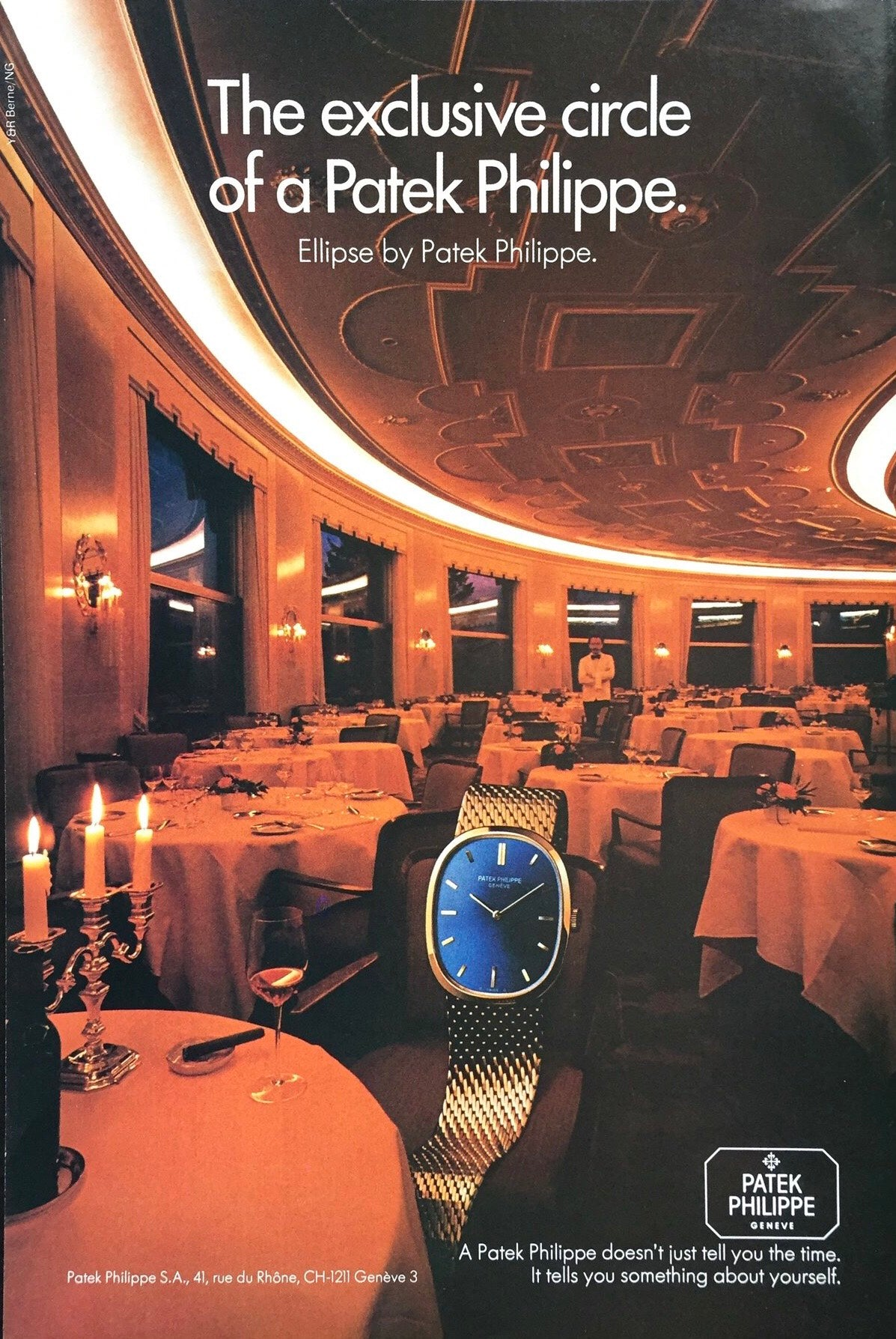 Patek Philippe Golden Ellipse in restaurant advertisement  In Why the Patek Philippe Golden Ellipse Should Matter Just as Much as the Nautilus for A Collected Man London