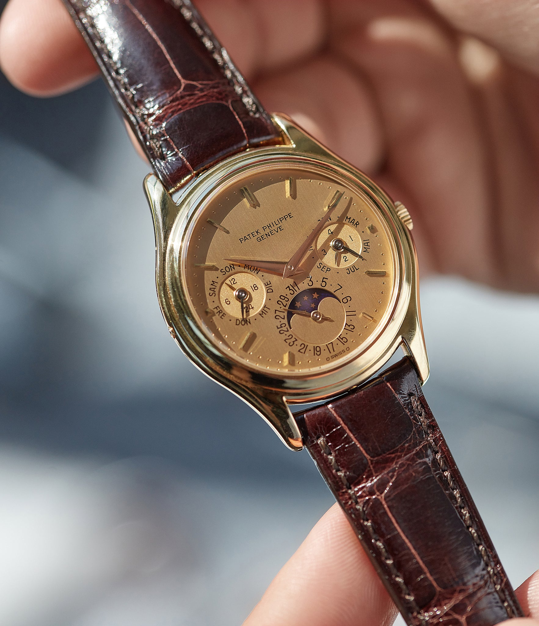 Patek Philippe 3940 first series with a gold dial, very rare