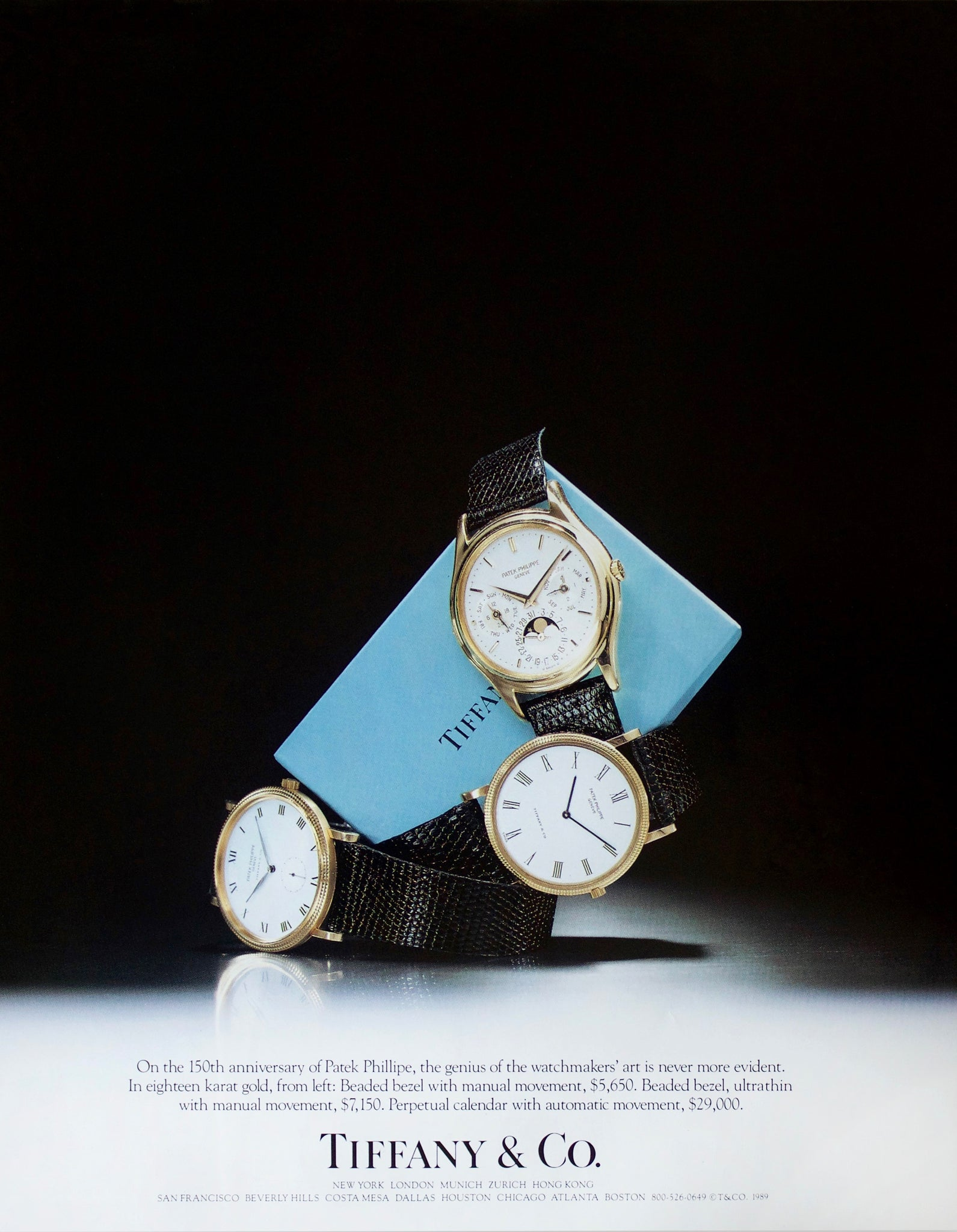 Tiffany & Co advertisement from 1989 that includes a Patek Philippe 3940