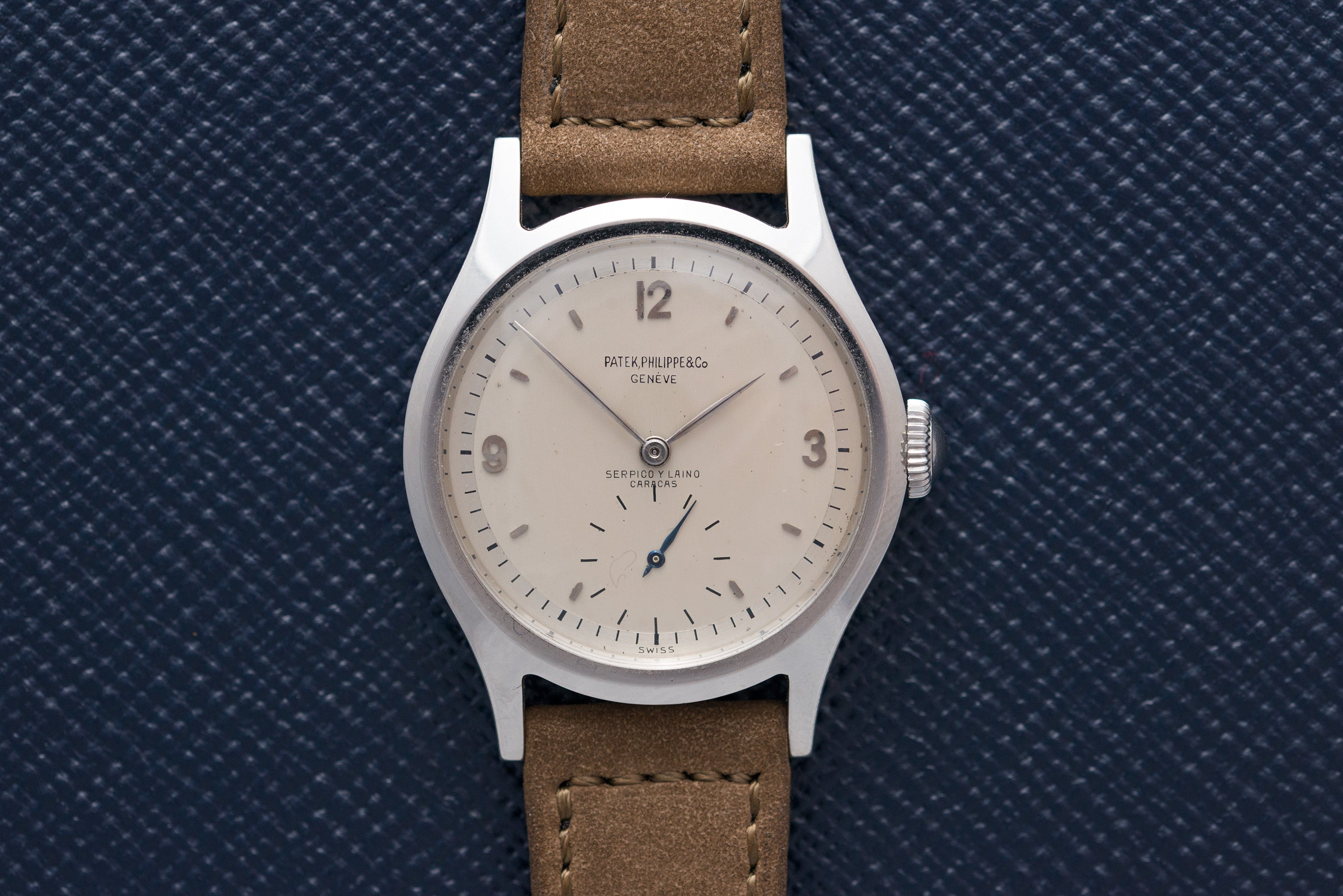 Patek Philippe Ref. 565 steel with double-signed Serpico y Laino dial at A Collected Man seller of rare vintage wathes