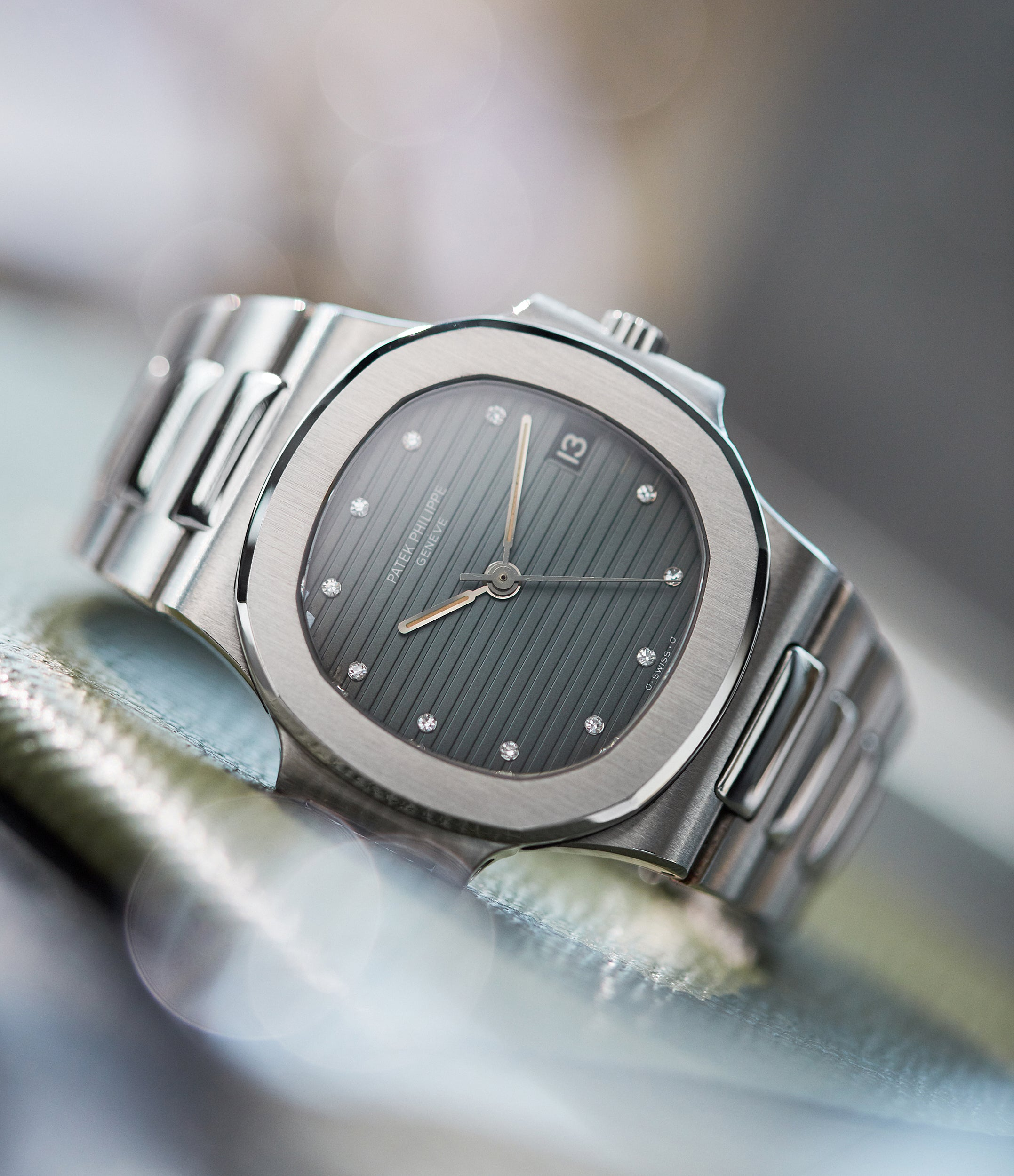 Patek Philippe Nautilus 3800 in stainless steel blue dial with diamond markers from A Collected Man London
