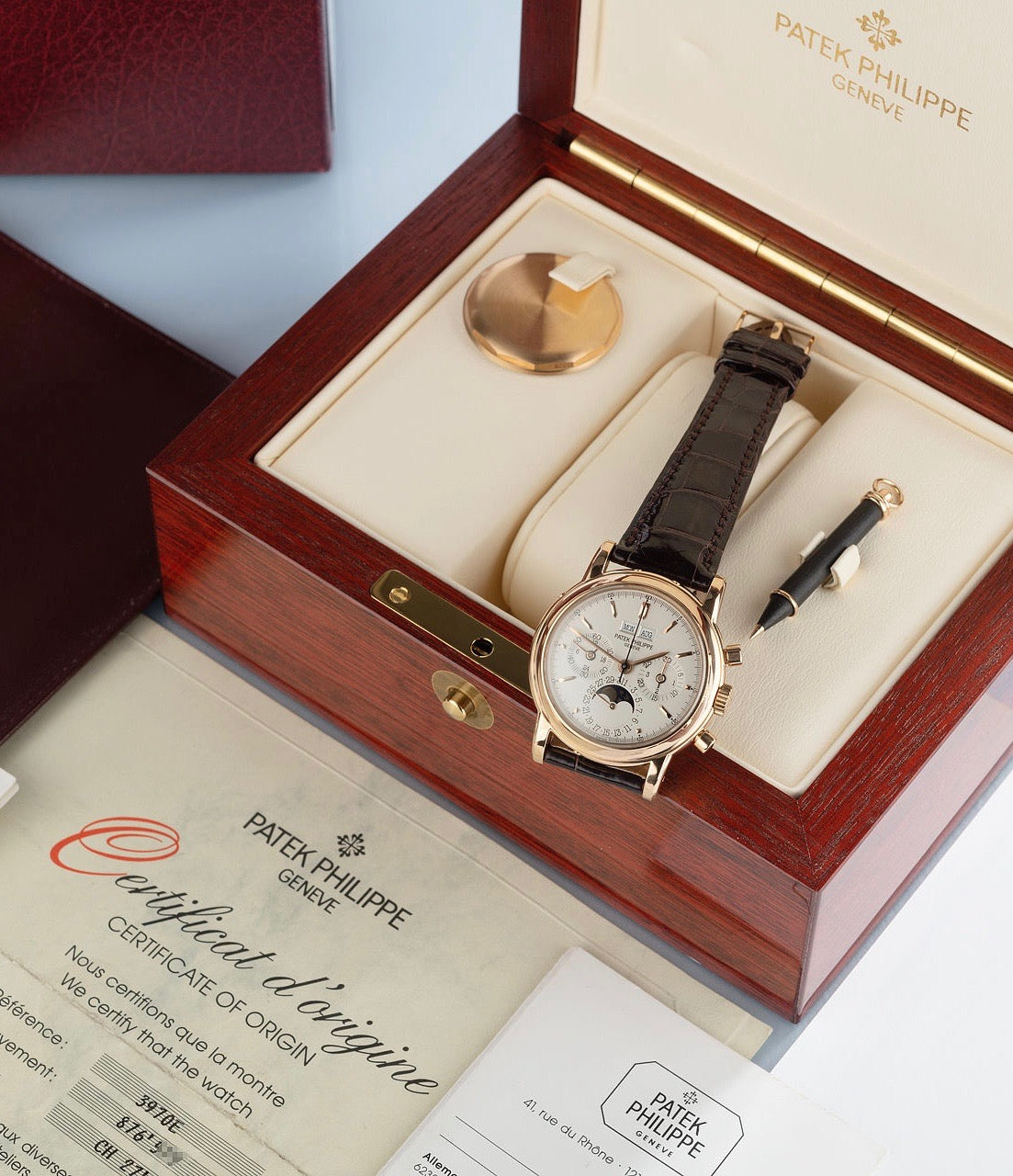 Patek Philippe ref. 3970EJ with original box displaying full set