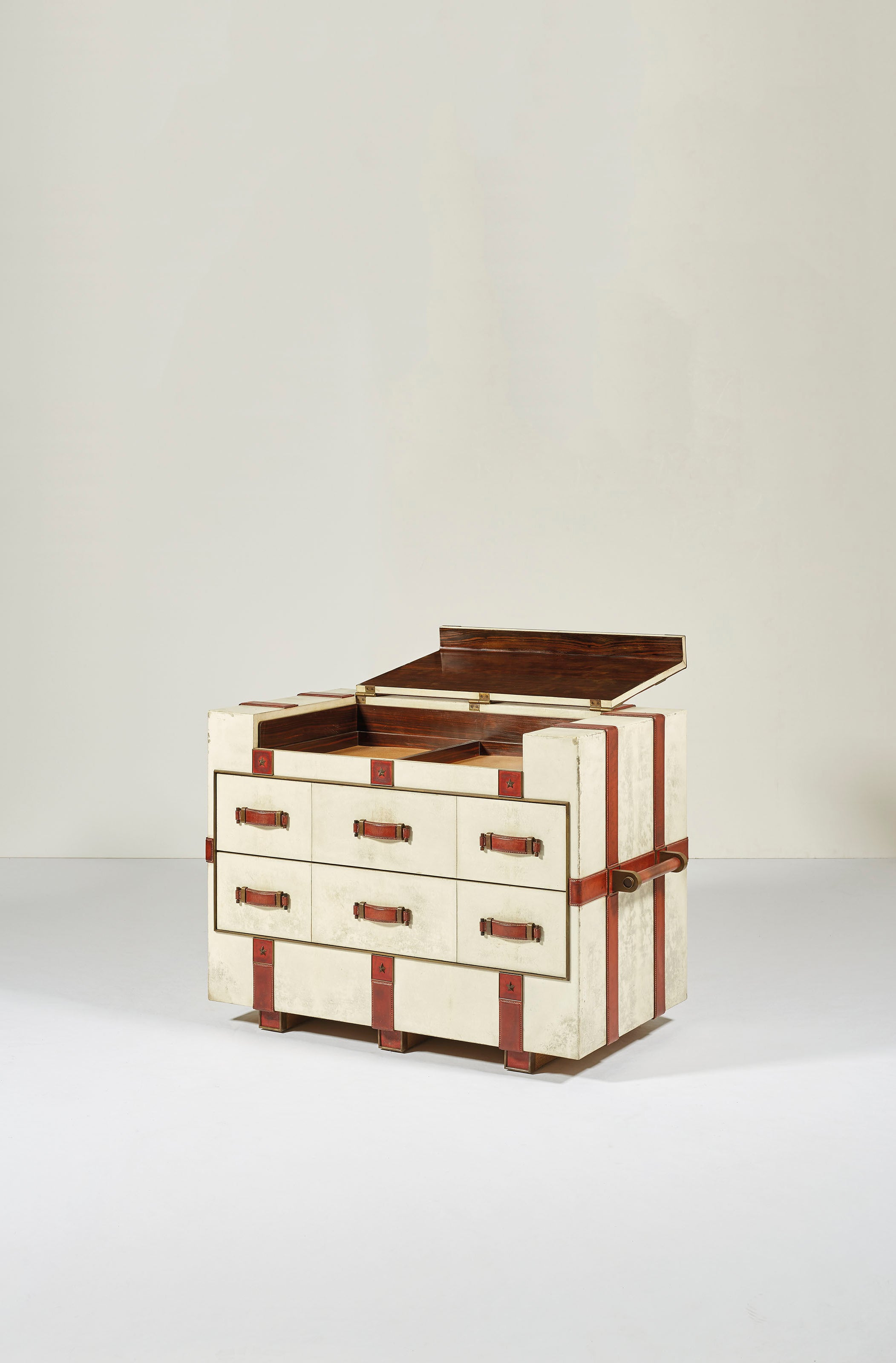 Leather chest with draws full in How Paul Dupré-Lafon Became 'The Decorator of Millionaires' for A Collected Man London