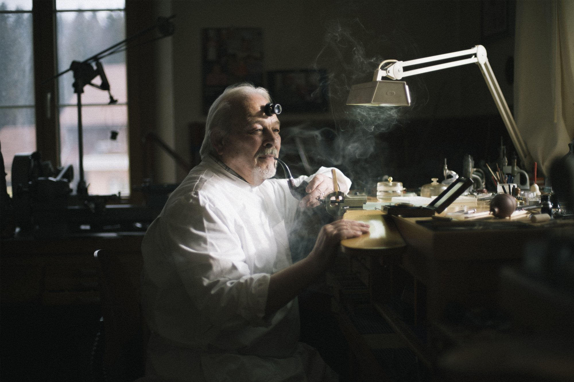Philippe Dufour at his workbench in the Vallée de Joux for A Collected Man London