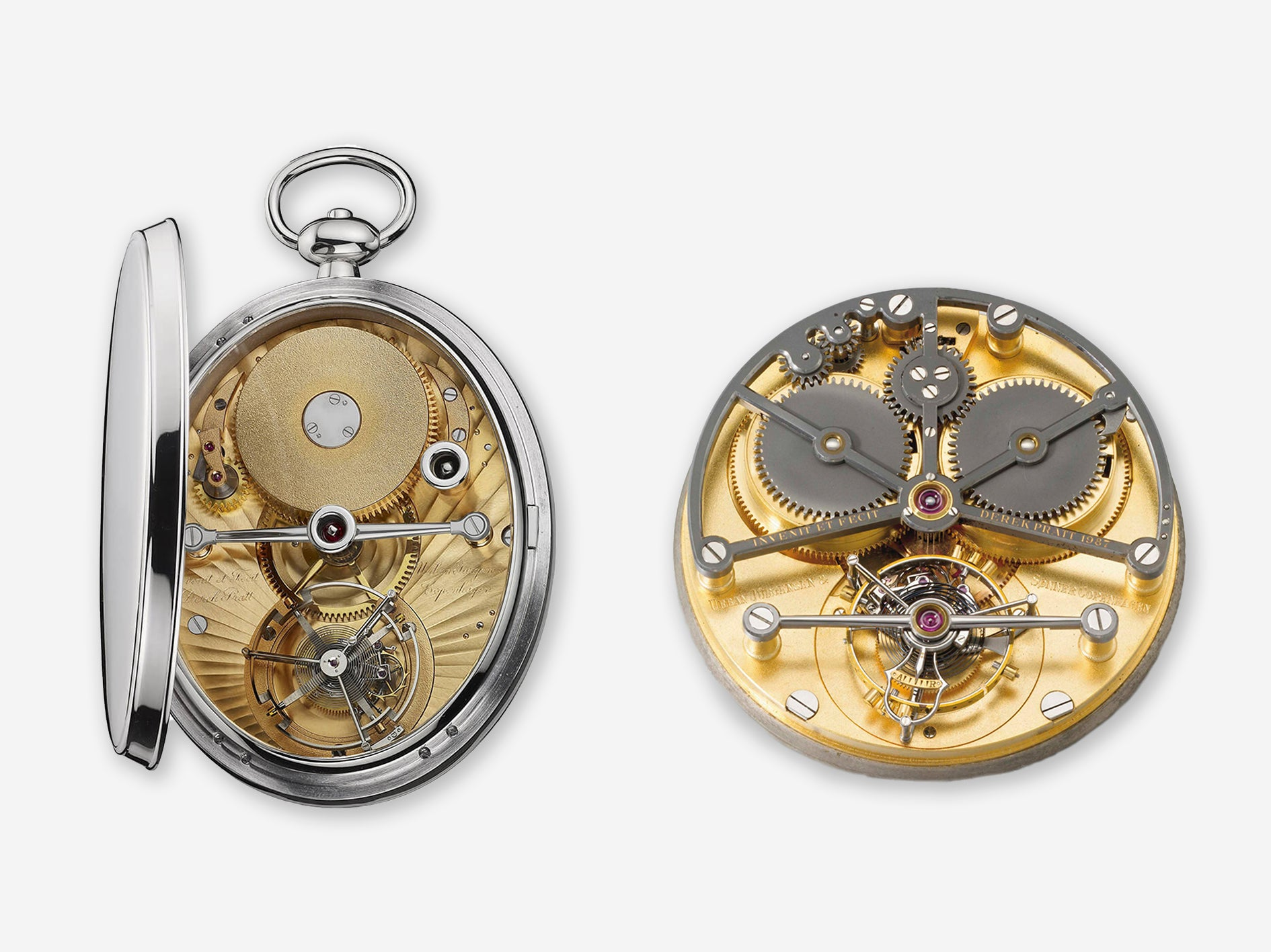 Two tourbillon movements made by Derek Pratt, one normal and one flying