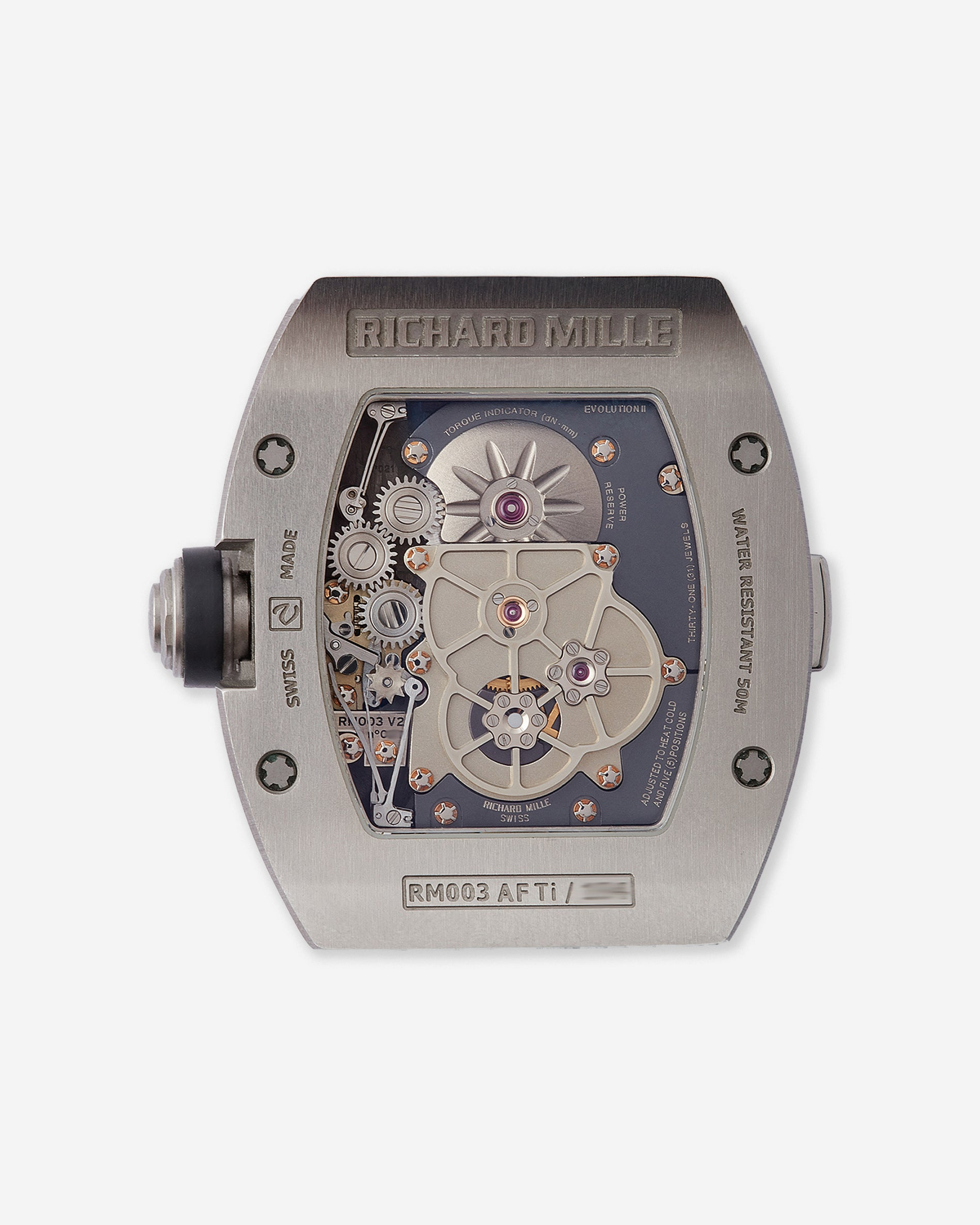 Richard Mille RM003 caseback showing Ti titanium stamp and other numberings as well as movement for A Collected Man London